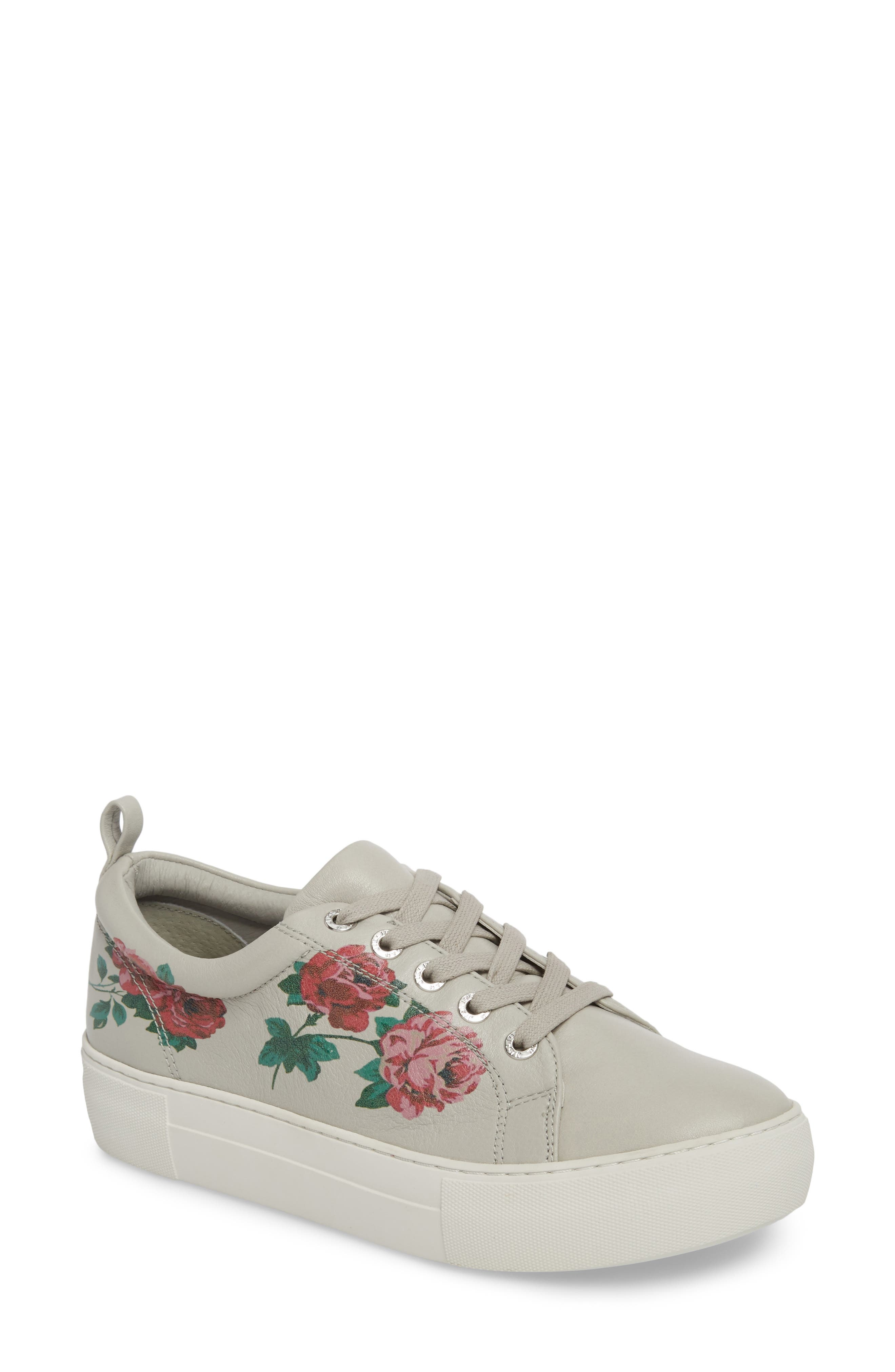 Adel Floral Sneaker,                         Main,                         color, Light Grey Leather