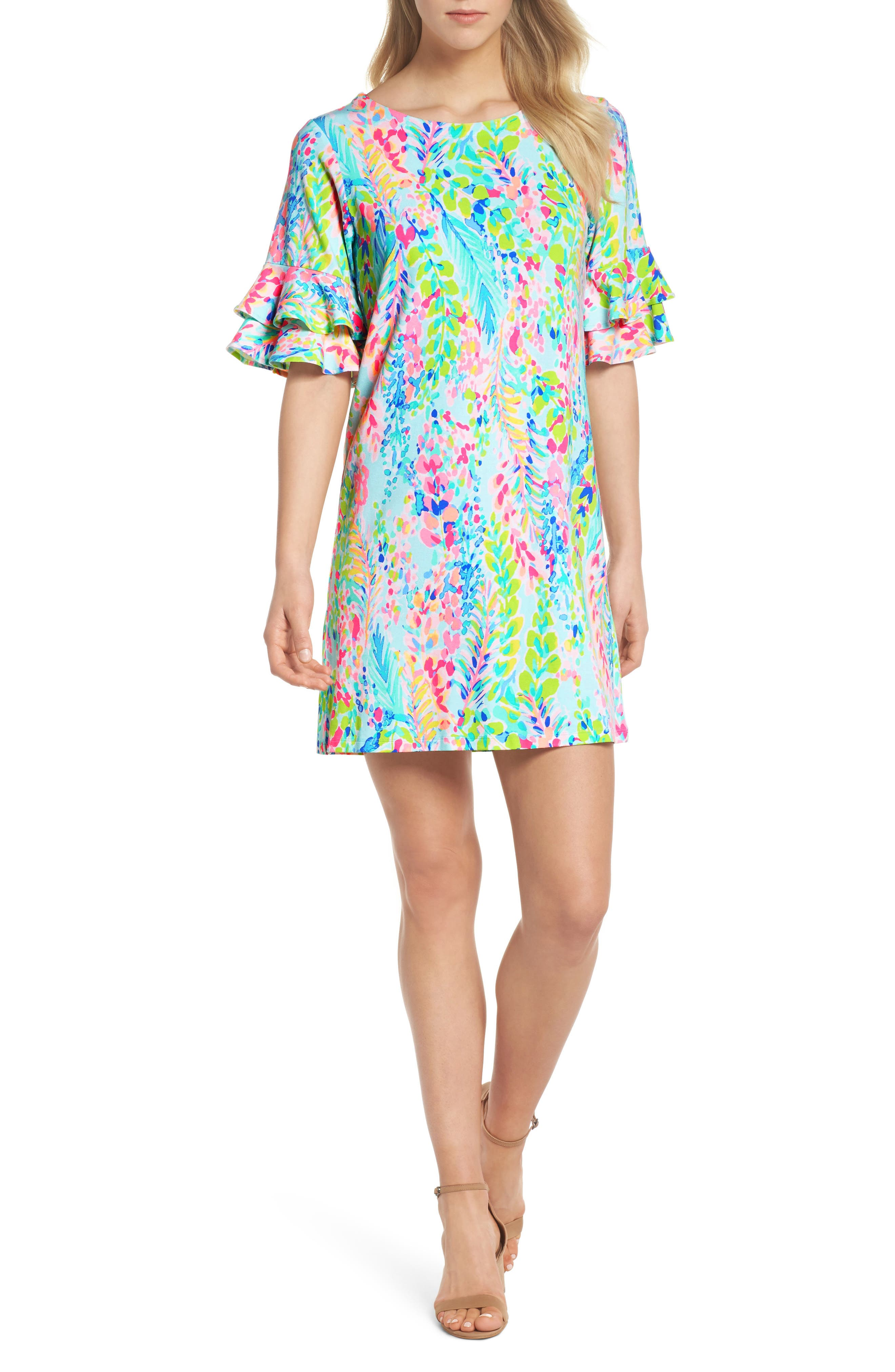 Lula Ruffle Sleeve Dress,                             Main thumbnail 1, color,                             Multi Catch The Wave