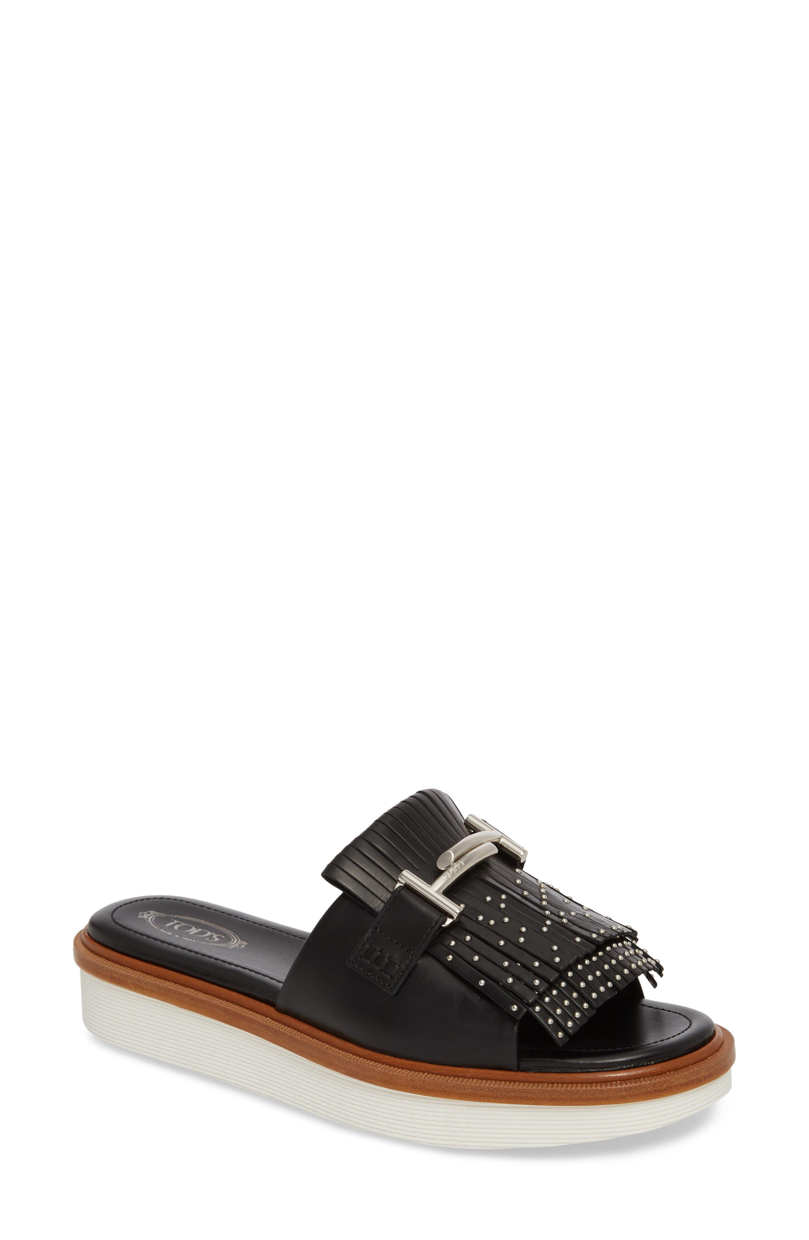 Tod's Studded Fringe Slide Sandal (Women)