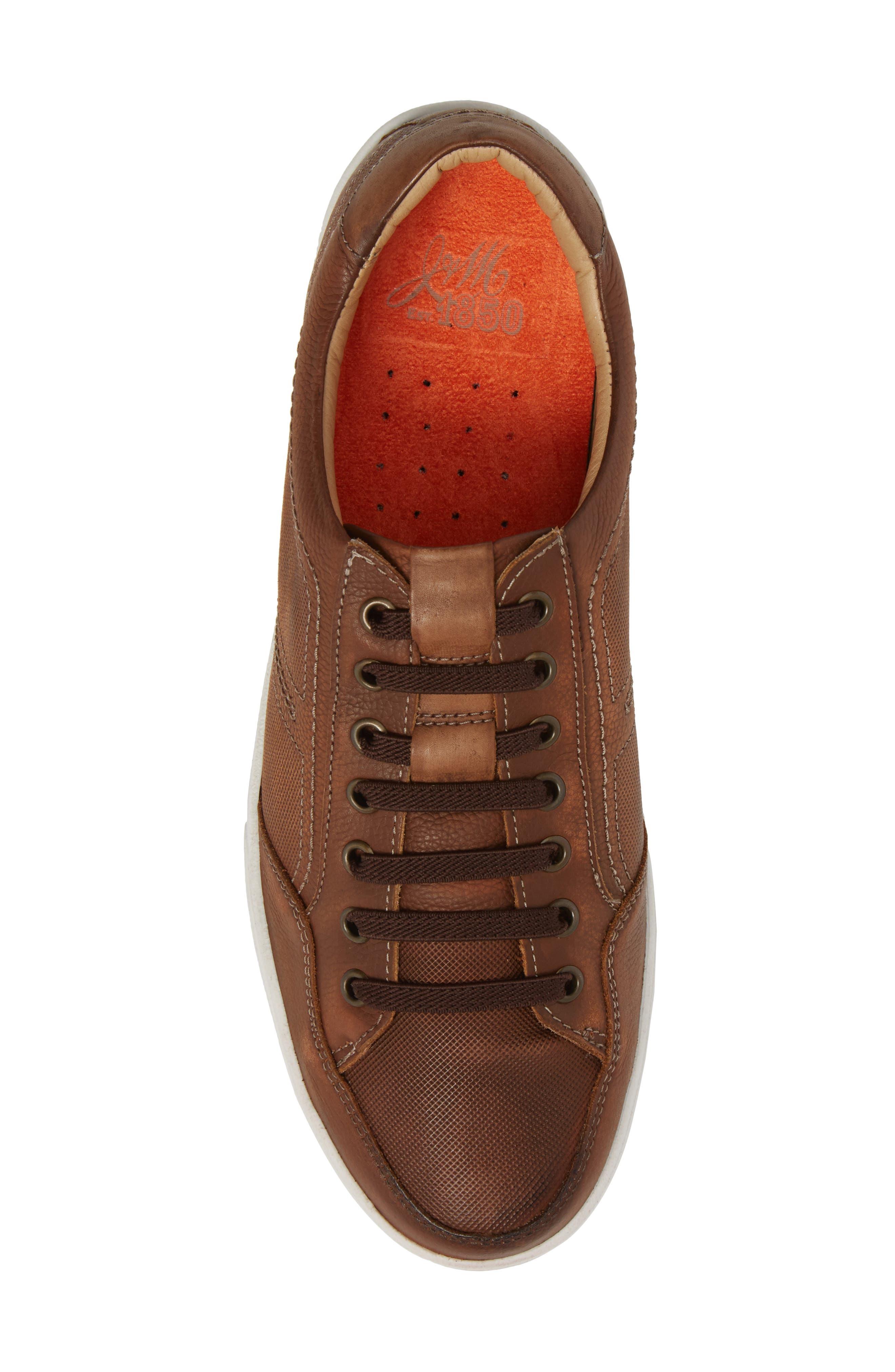 Quinton Textured Low Top Sneaker,                             Alternate thumbnail 5, color,                             Tan Leather