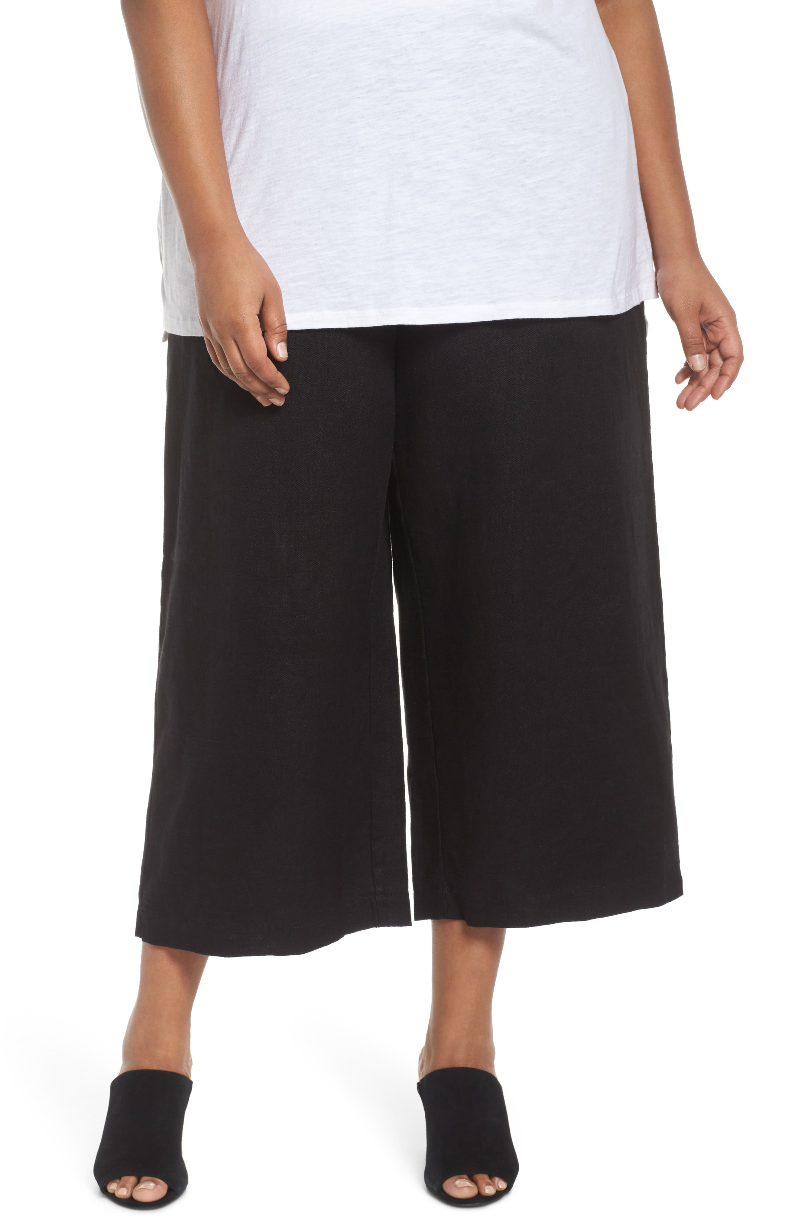 Eileen Fisher Wide Leg Crop Pants (Plus Size)