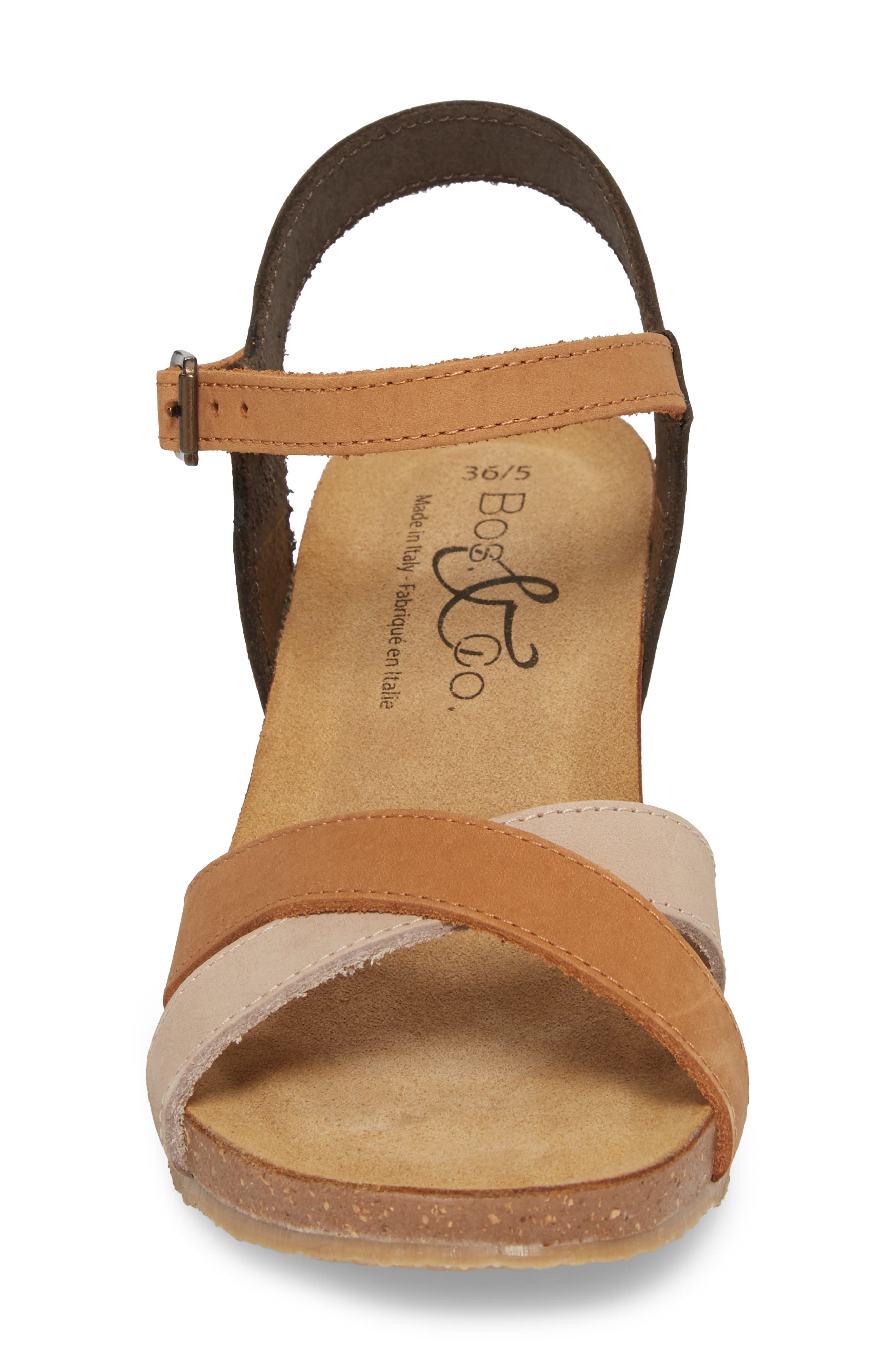 Lucca Wedge Sandal,                             Alternate thumbnail 4, color,                             Multi Cognac Nubuck Leather