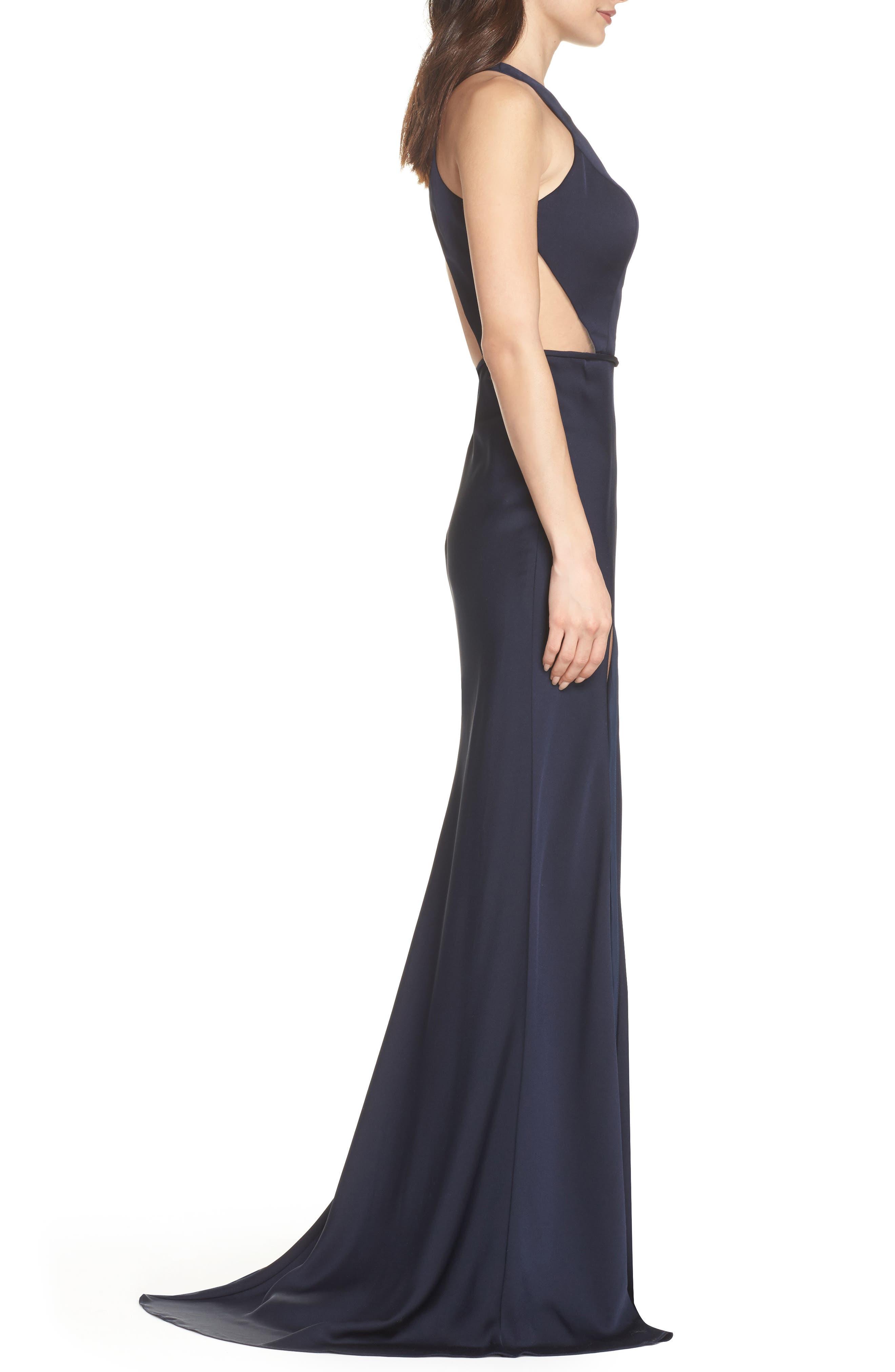 Alternate Image 3  - La Femme Cutout Detail Satin Gown