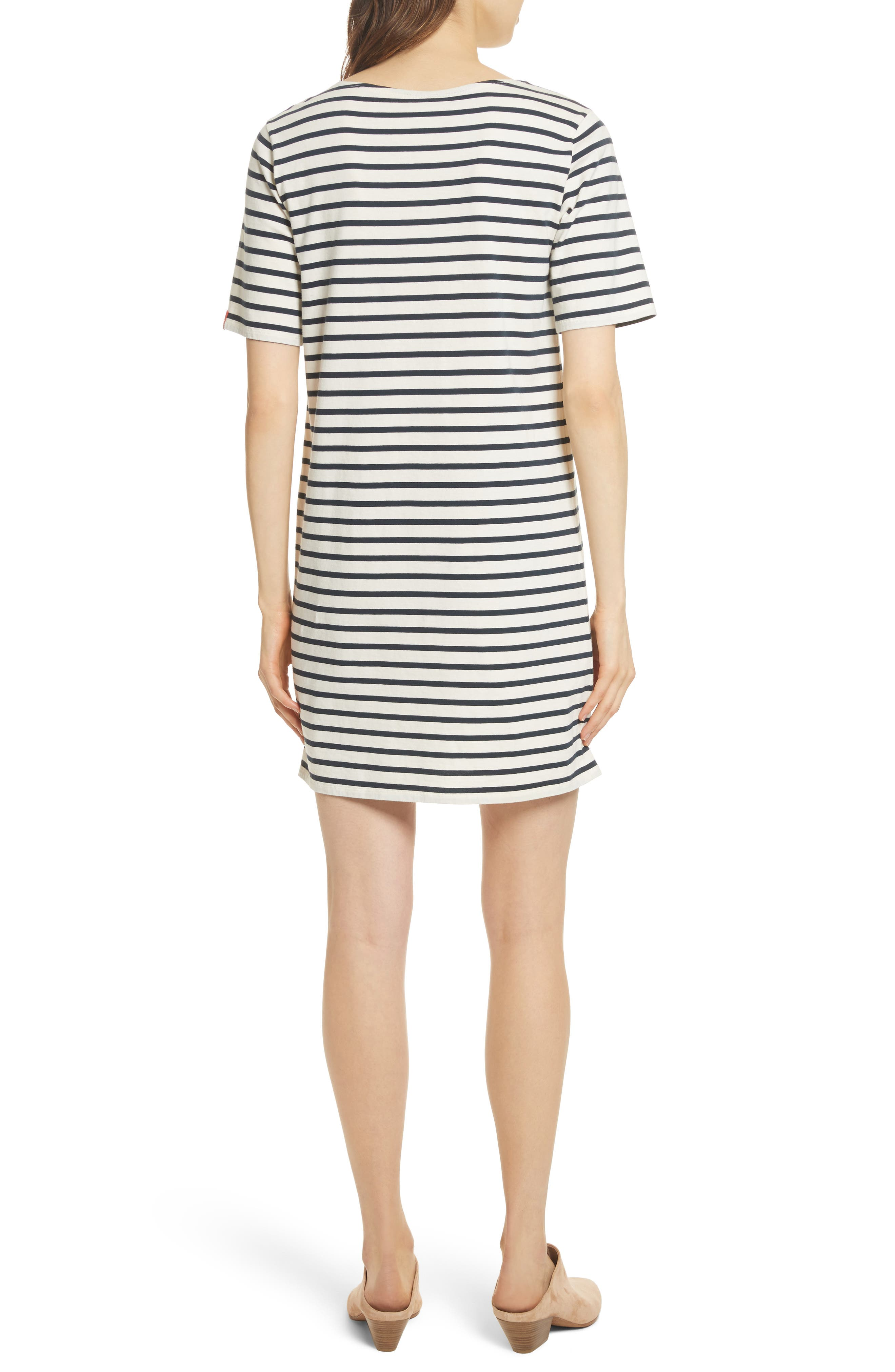 The Tee Stripe Dress,                             Alternate thumbnail 2, color,                             Cream/ Navy