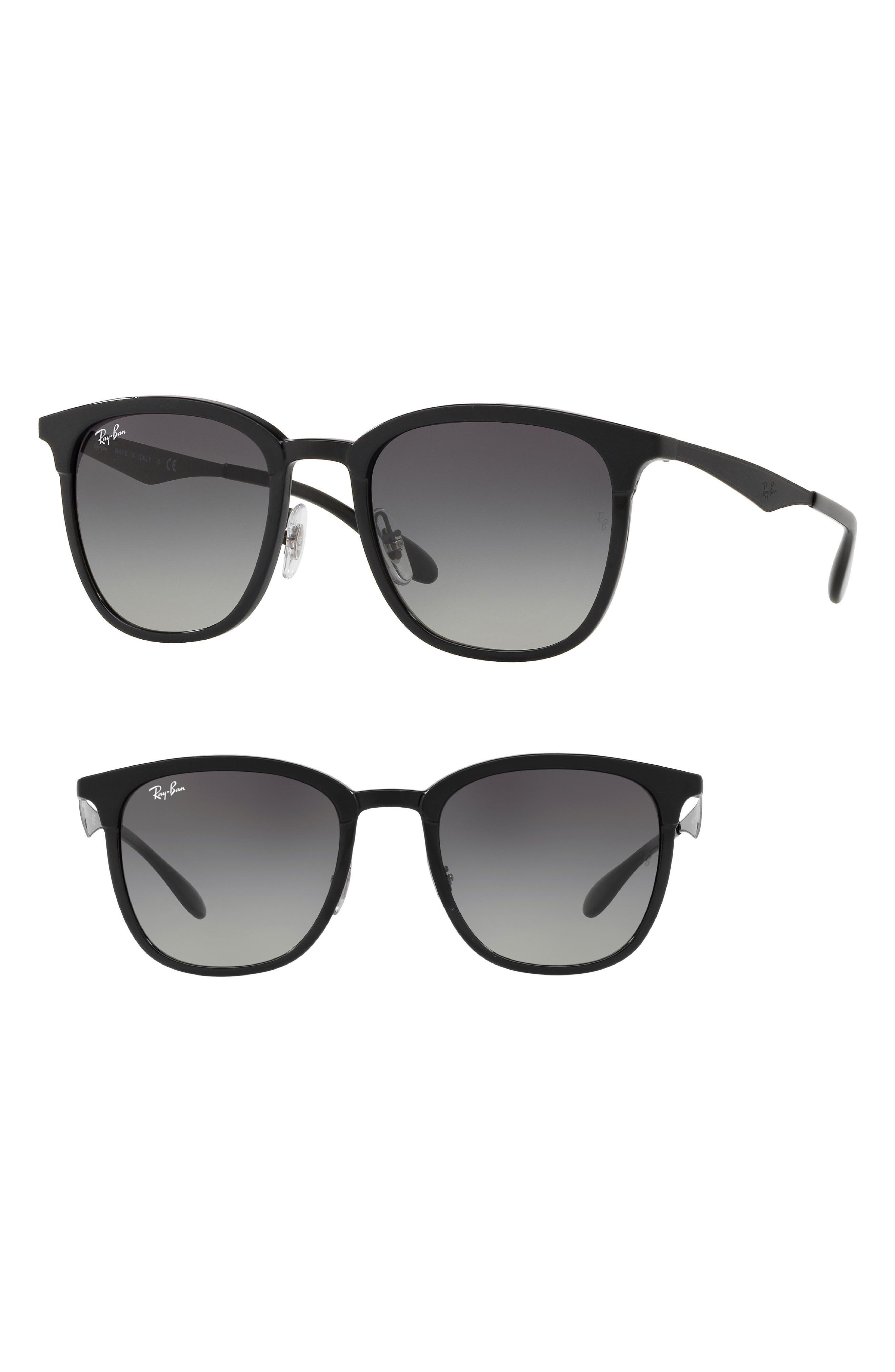 Highstreet 51mm Square Sunglasses,                             Main thumbnail 1, color,                             Black