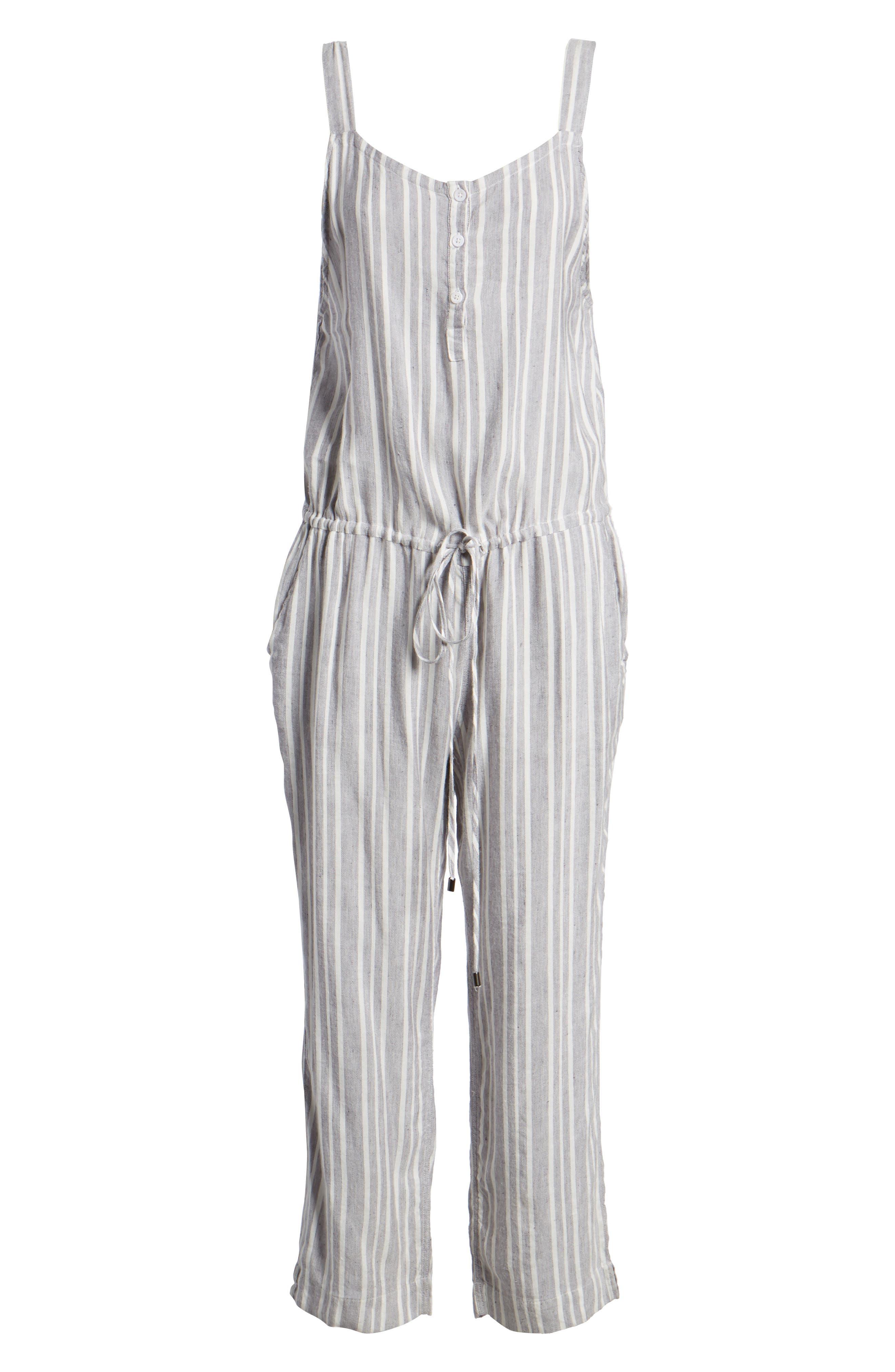 Brooklyn Crop Jumpsuit,                             Alternate thumbnail 6, color,                             Caldas Stripe