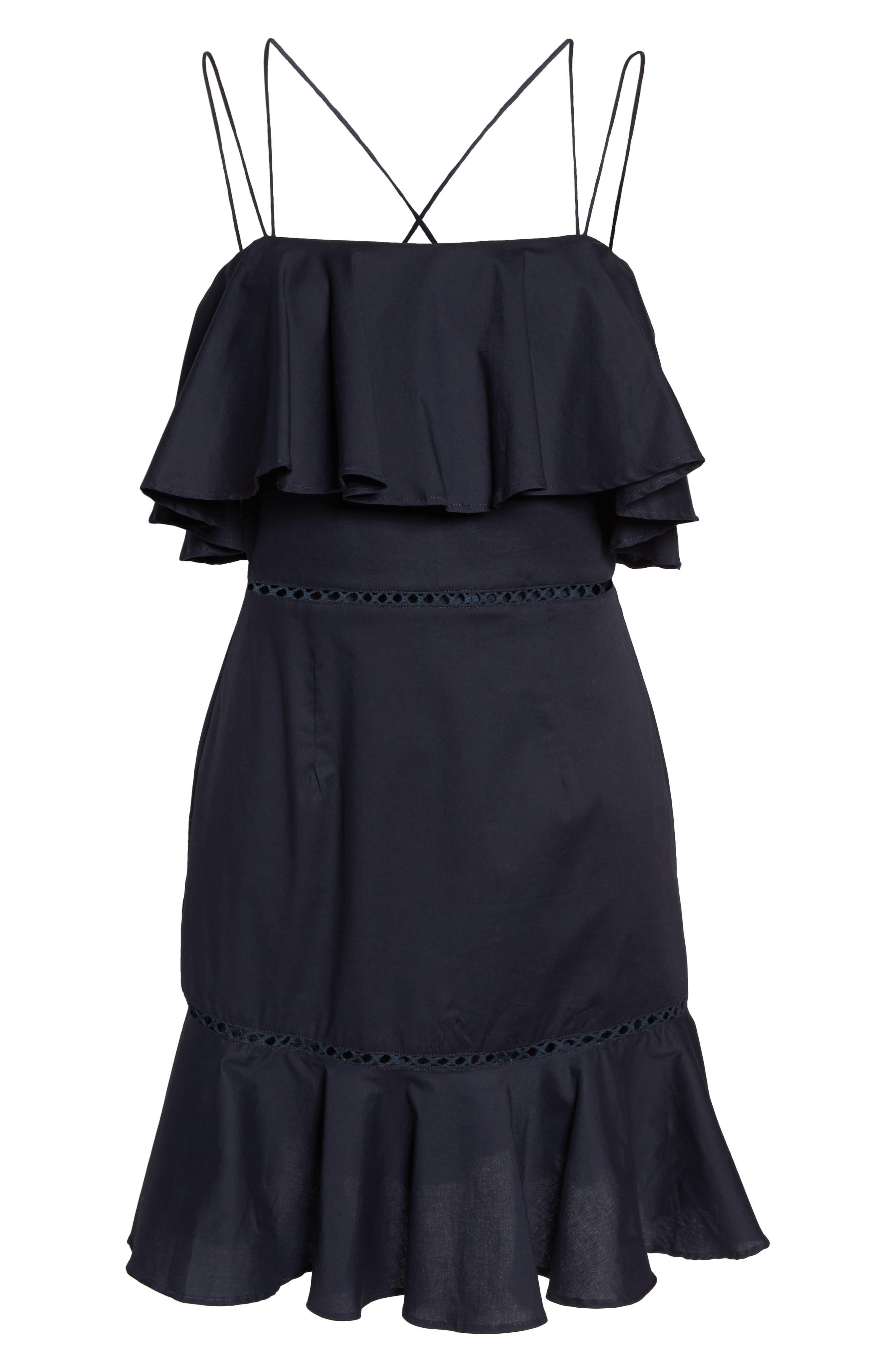 Lola Poplin Ruffle Dress,                             Alternate thumbnail 6, color,                             Navy