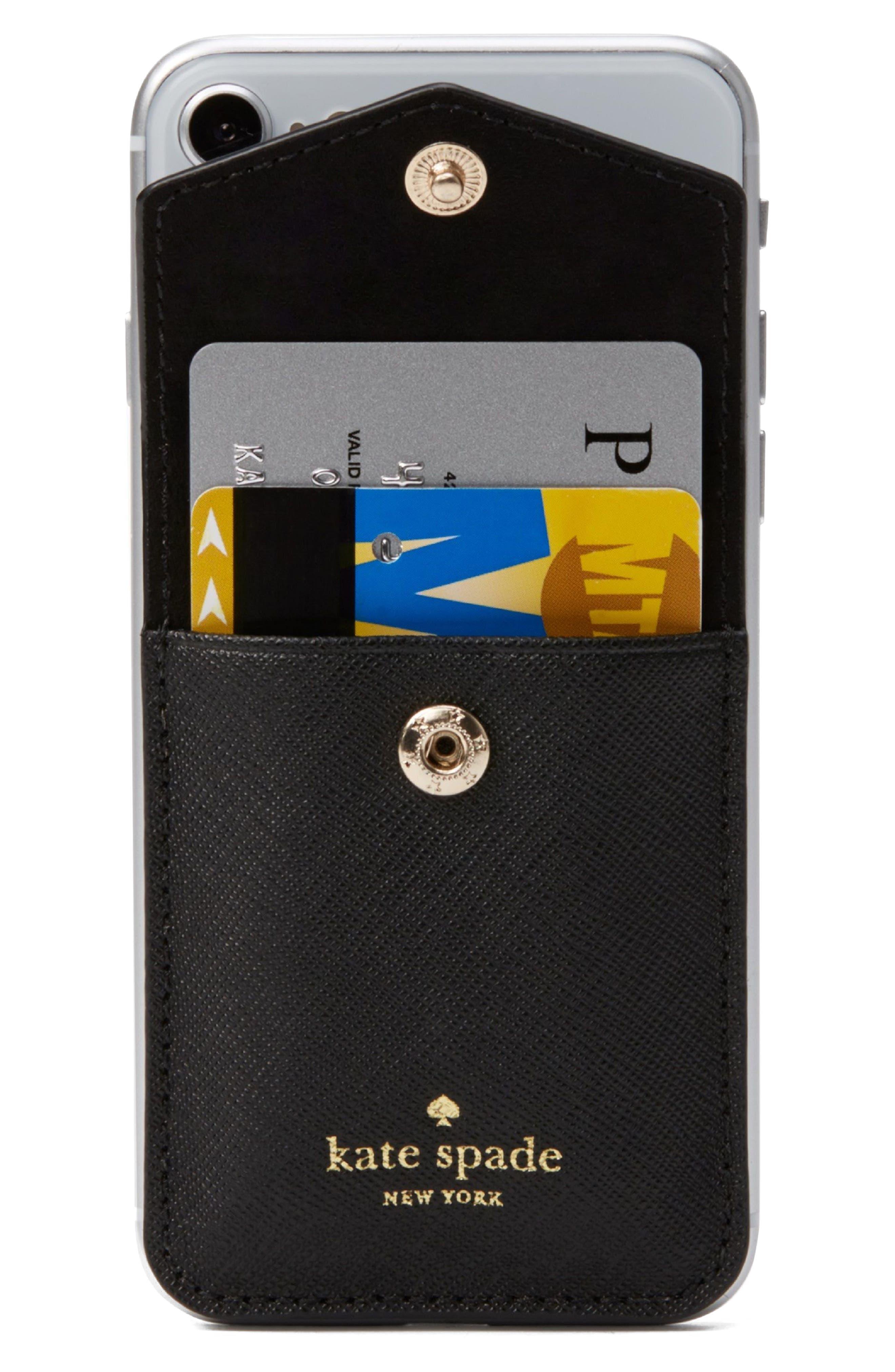iPhone 7/8/X envelope sticker pocket,                             Alternate thumbnail 2, color,                             Black
