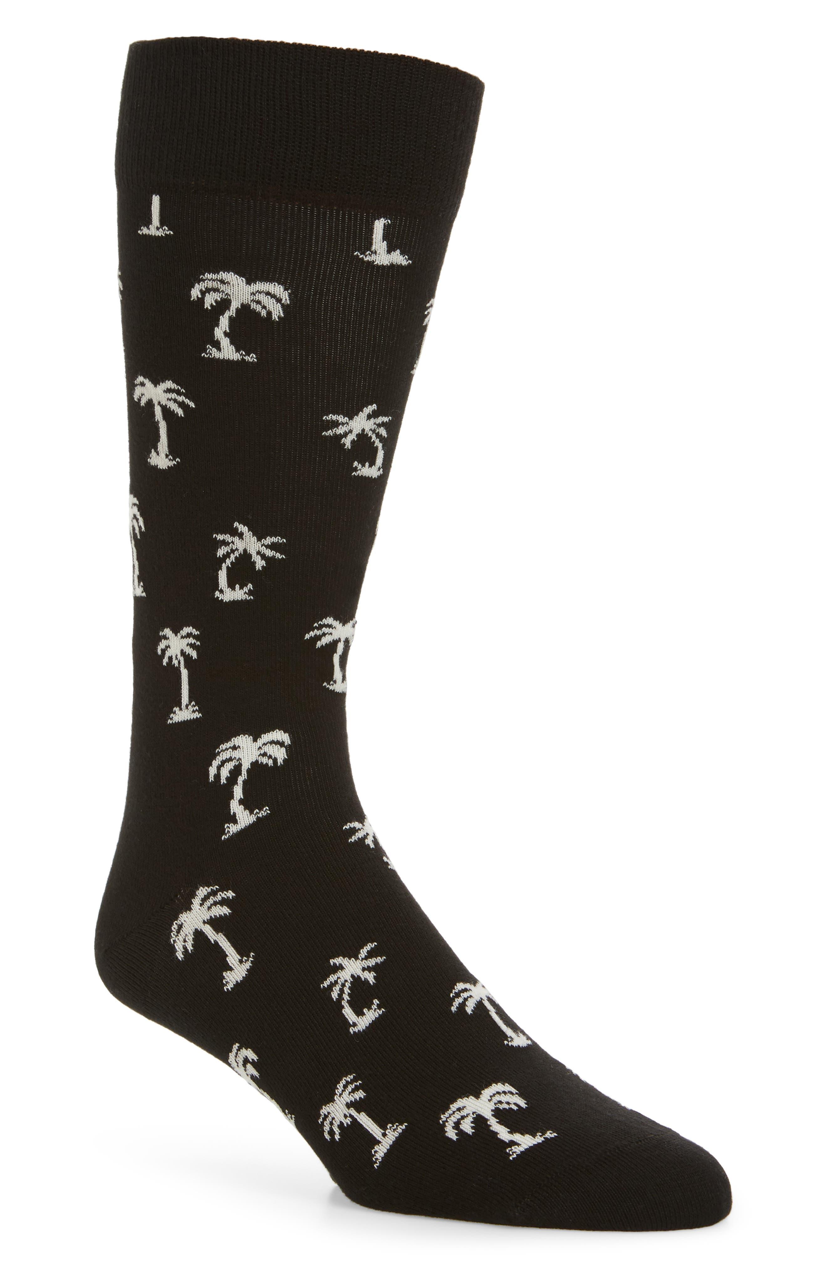 Palm Beach Crew Socks,                         Main,                         color, Black/ White