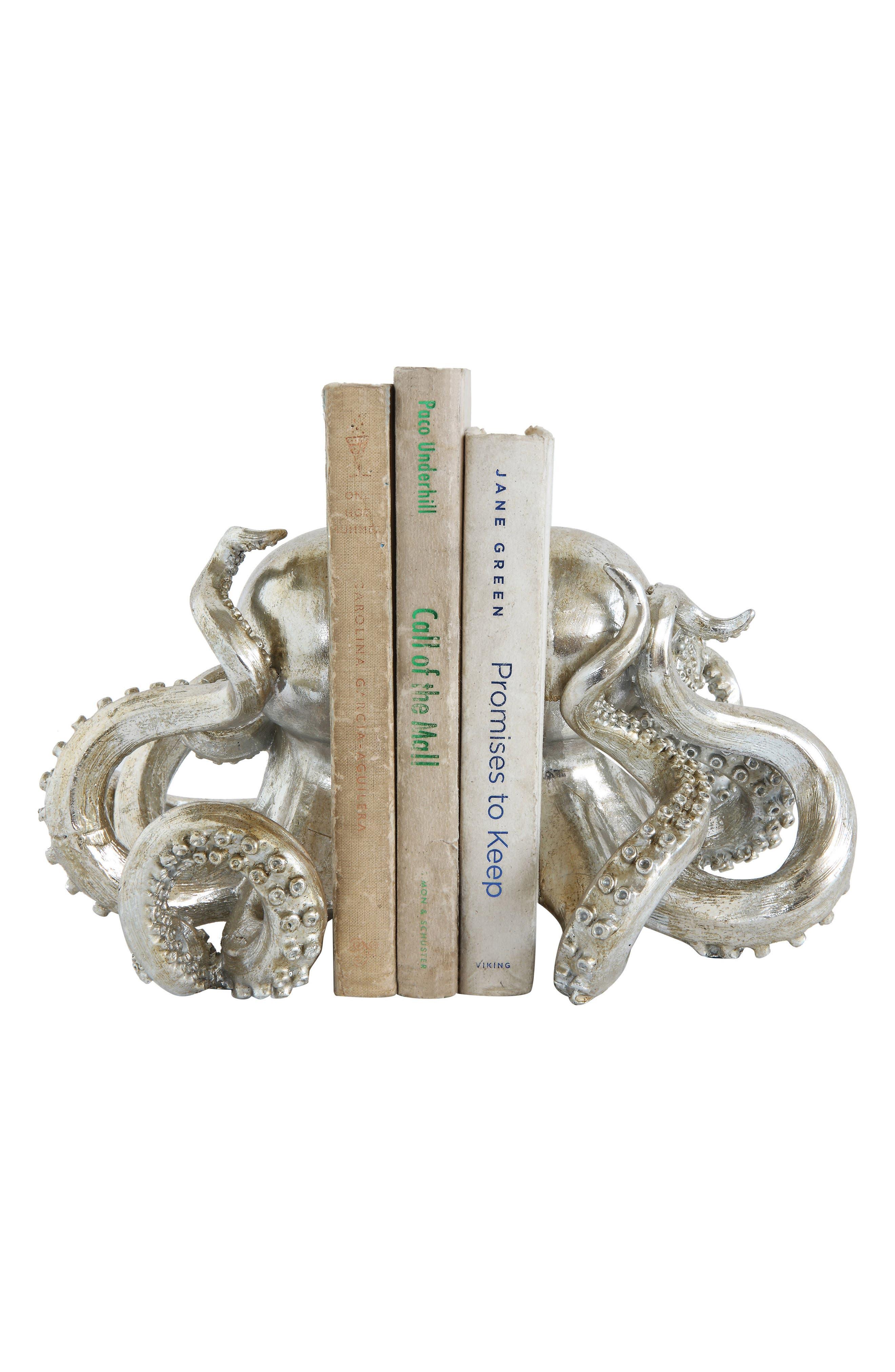 Octopus Bookends,                         Main,                         color, Metallic Silver