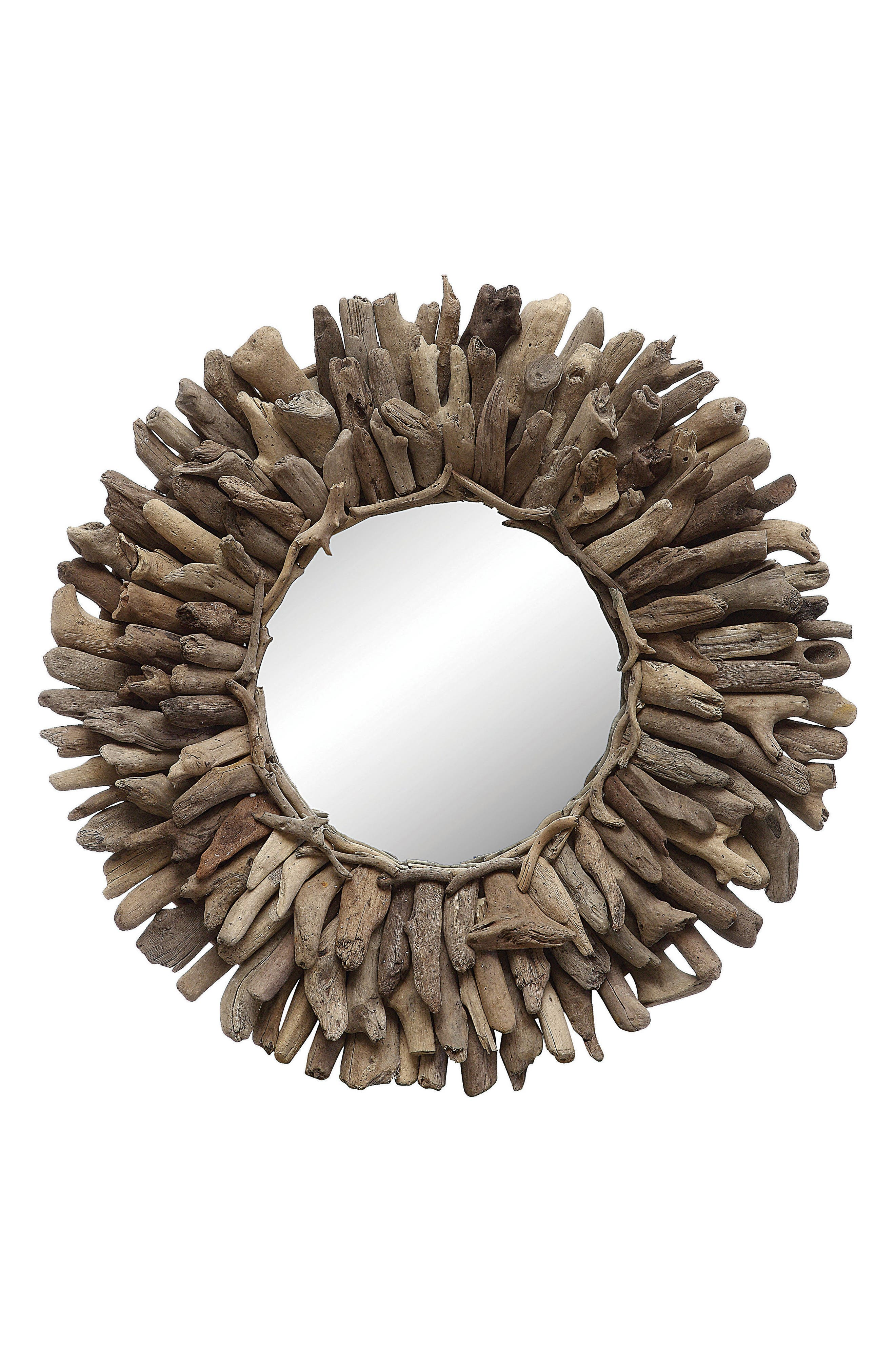 Driftwood Round Mirror,                         Main,                         color, Brown