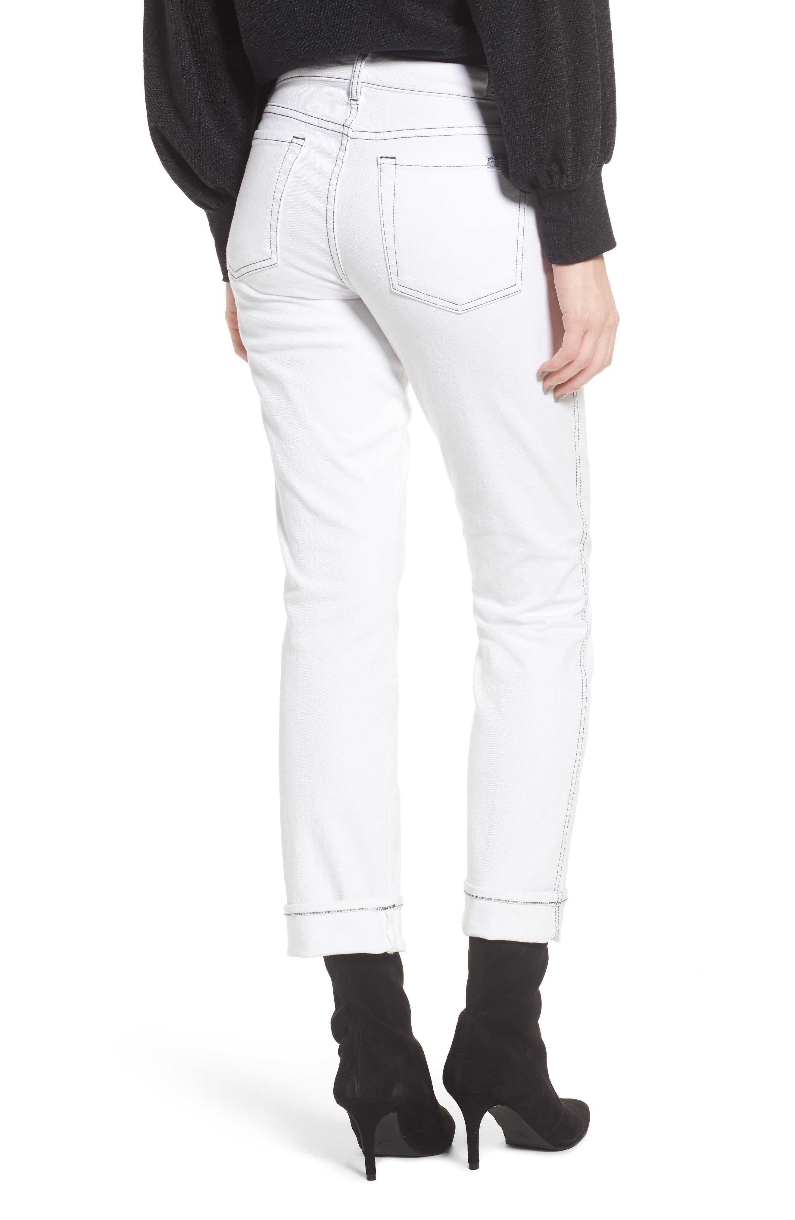 Dylan Print Cuff Straight Leg Jeans,                             Alternate thumbnail 2, color,                             White Fashion W/ Black Print