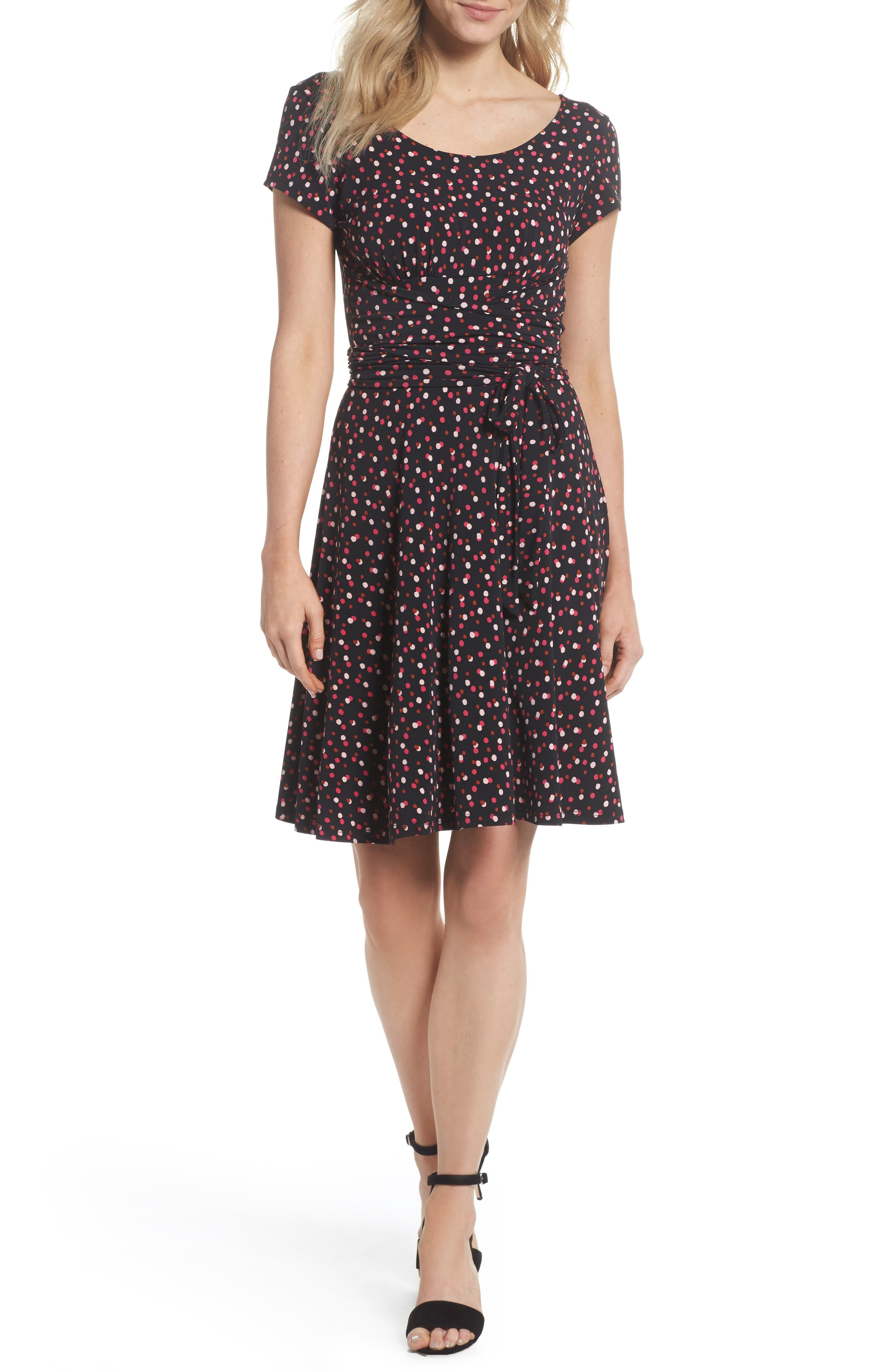 Scoop Neck Jersey Fit & Flare Dress,                         Main,                         color, Twilight Dot Pink Peacock
