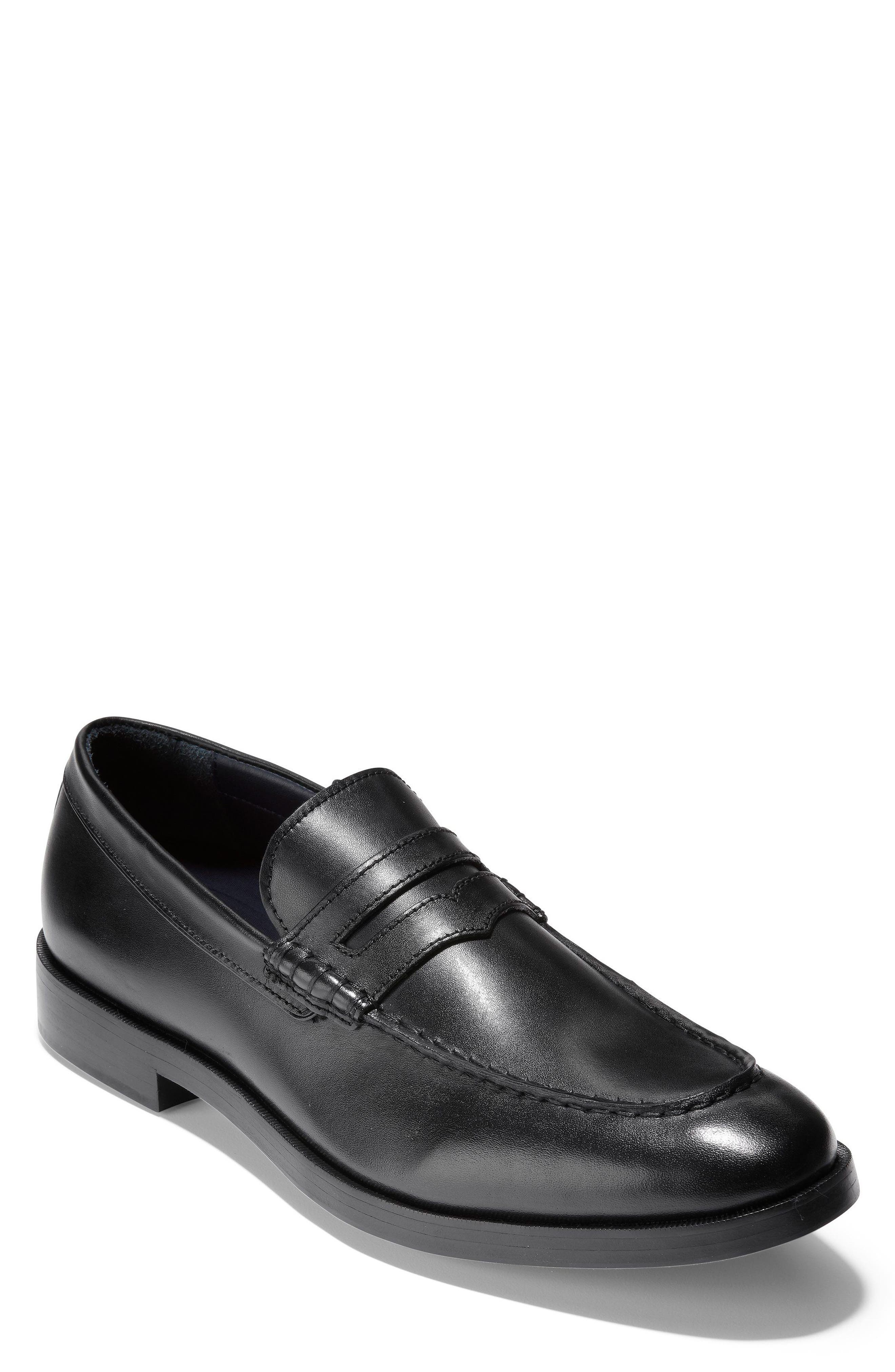 Hamilton Grand Penny Loafer,                         Main,                         color, Black Leather