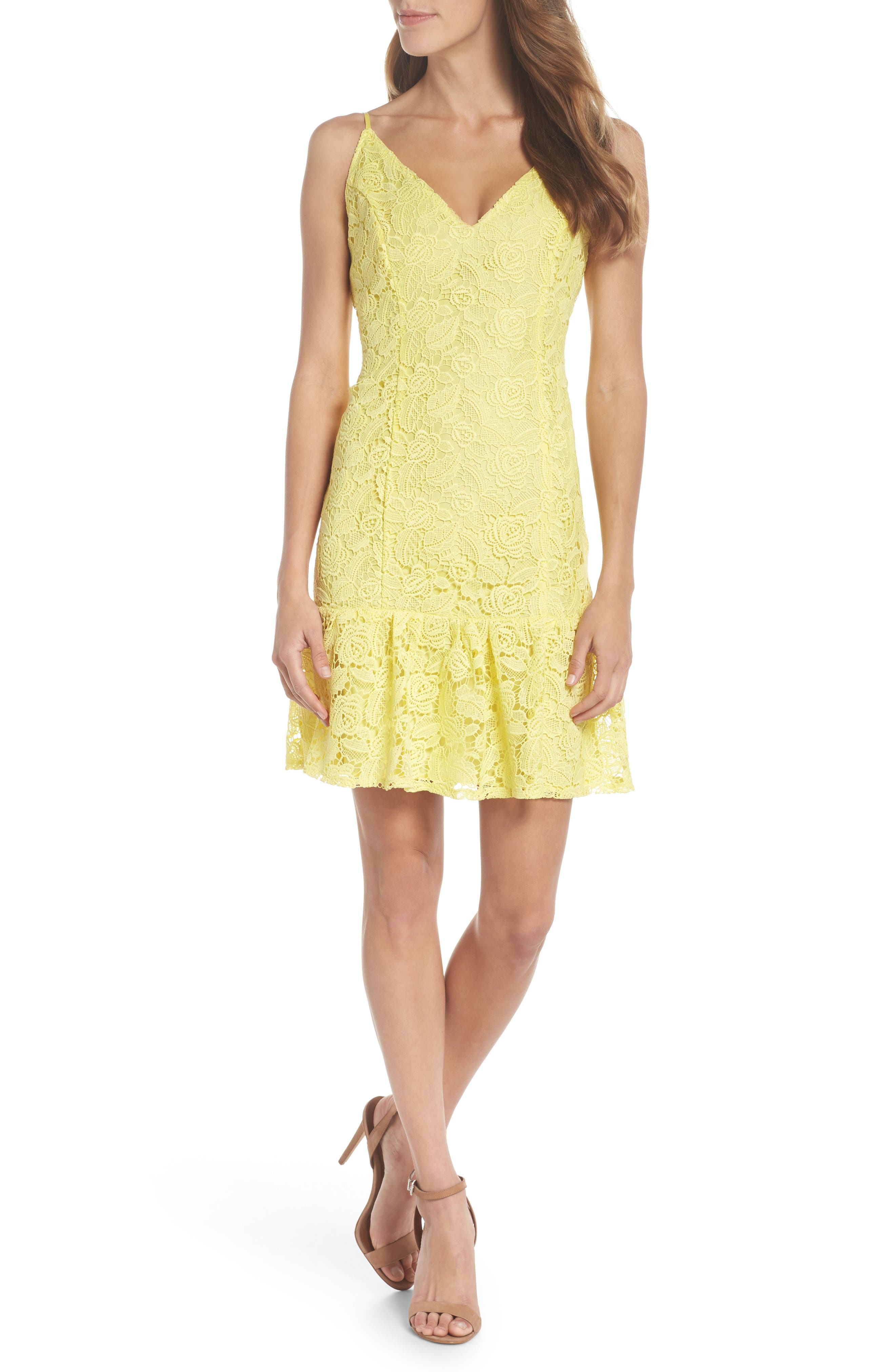 Main Image - BB Dakota Gisel Ruffle Hem Lace Dress