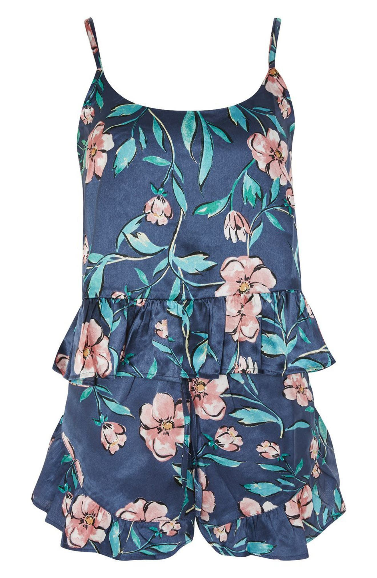 Peony Satin Short Pajamas,                             Alternate thumbnail 3, color,                             Navy Blue Multi