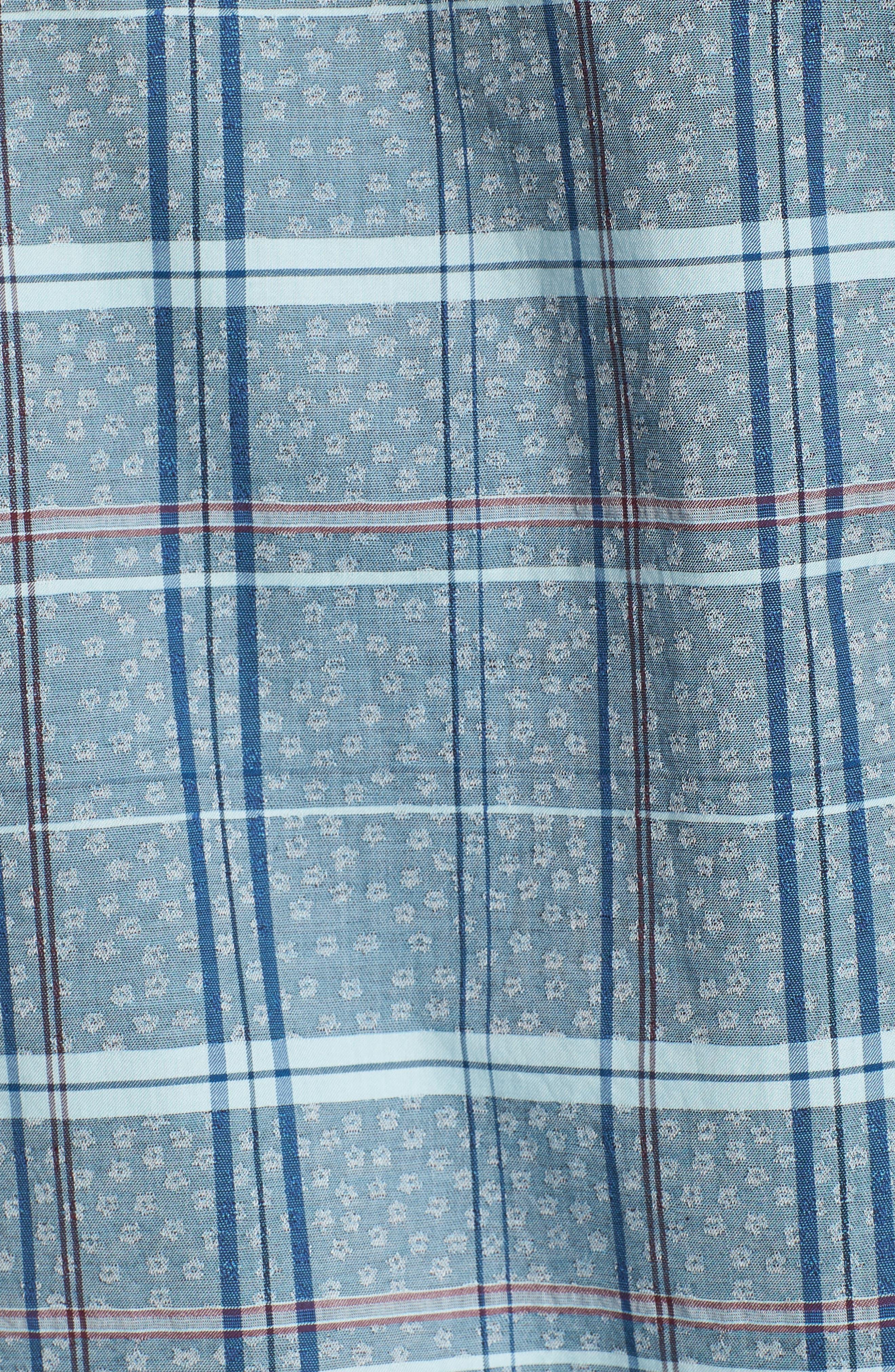 Vacaso Regular Fit Plaid Jacquard Sport Shirt,                             Alternate thumbnail 5, color,                             Water