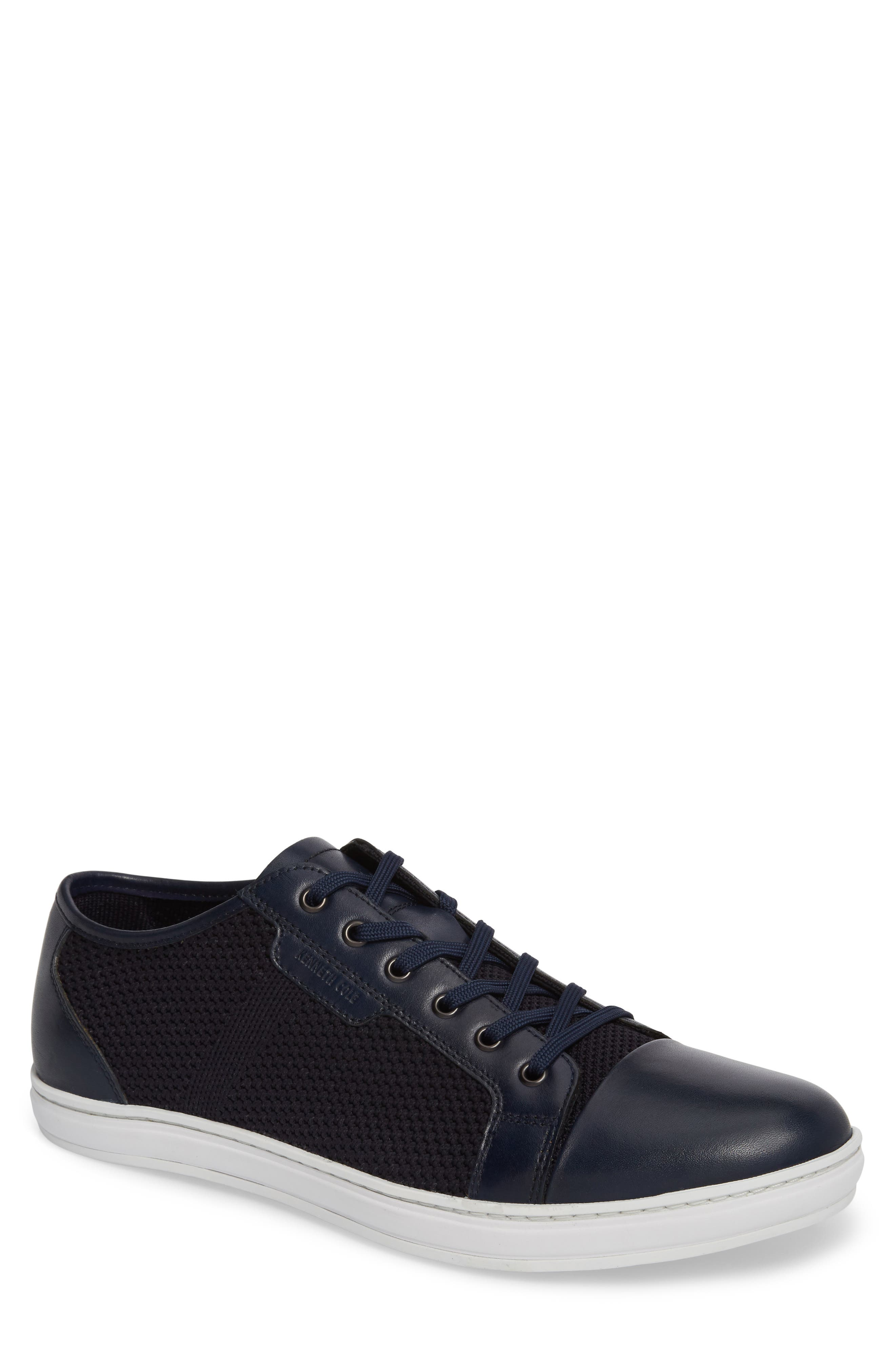 Knit Low Top Sneaker,                         Main,                         color, Navy Leather