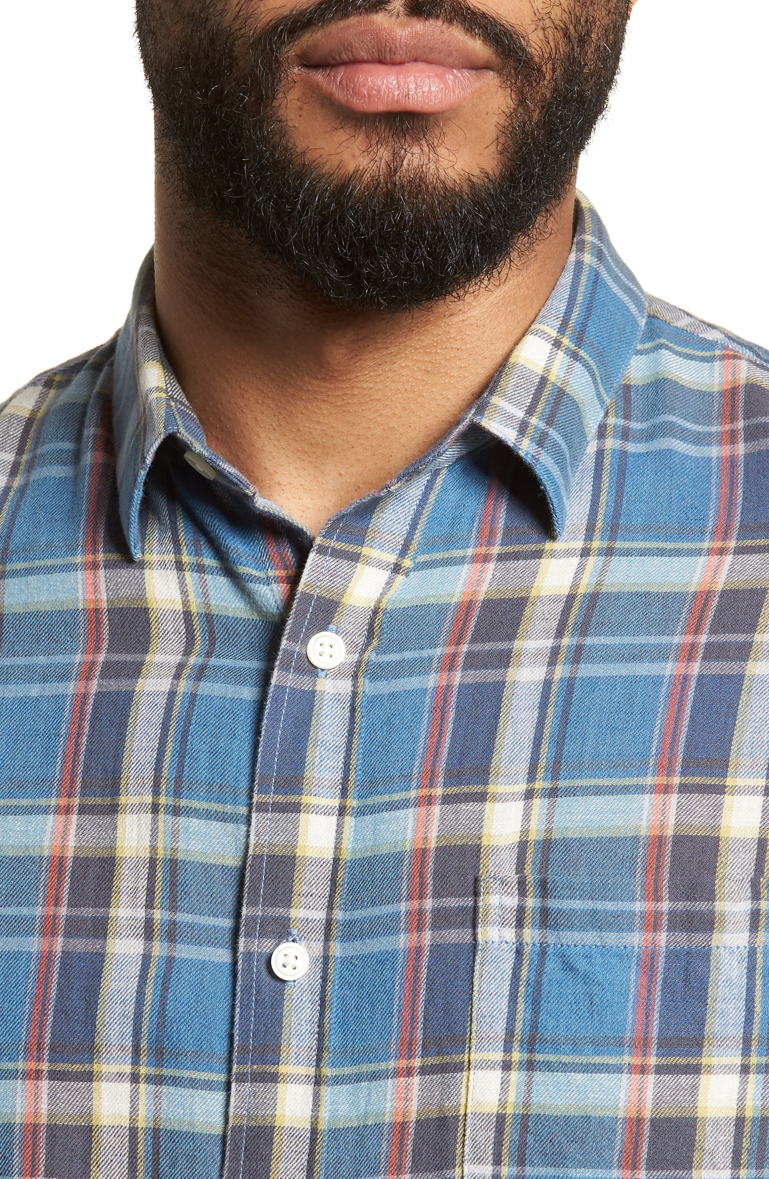 Slim Fit Plaid Sport Shirt,                             Alternate thumbnail 4, color,                             Light Blue