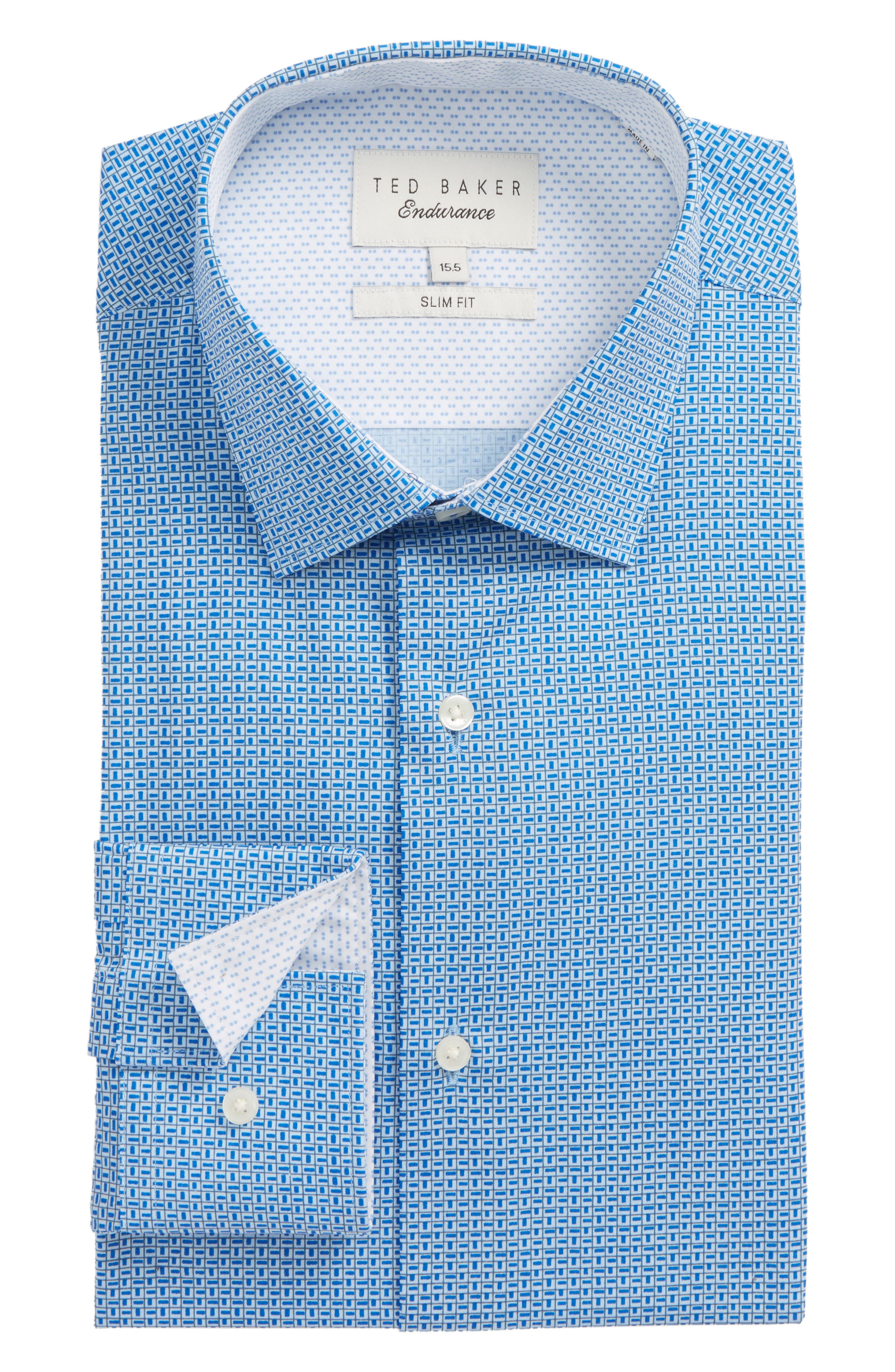 Porsh Slim Fit Check Dress Shirt,                             Main thumbnail 1, color,                             Blue