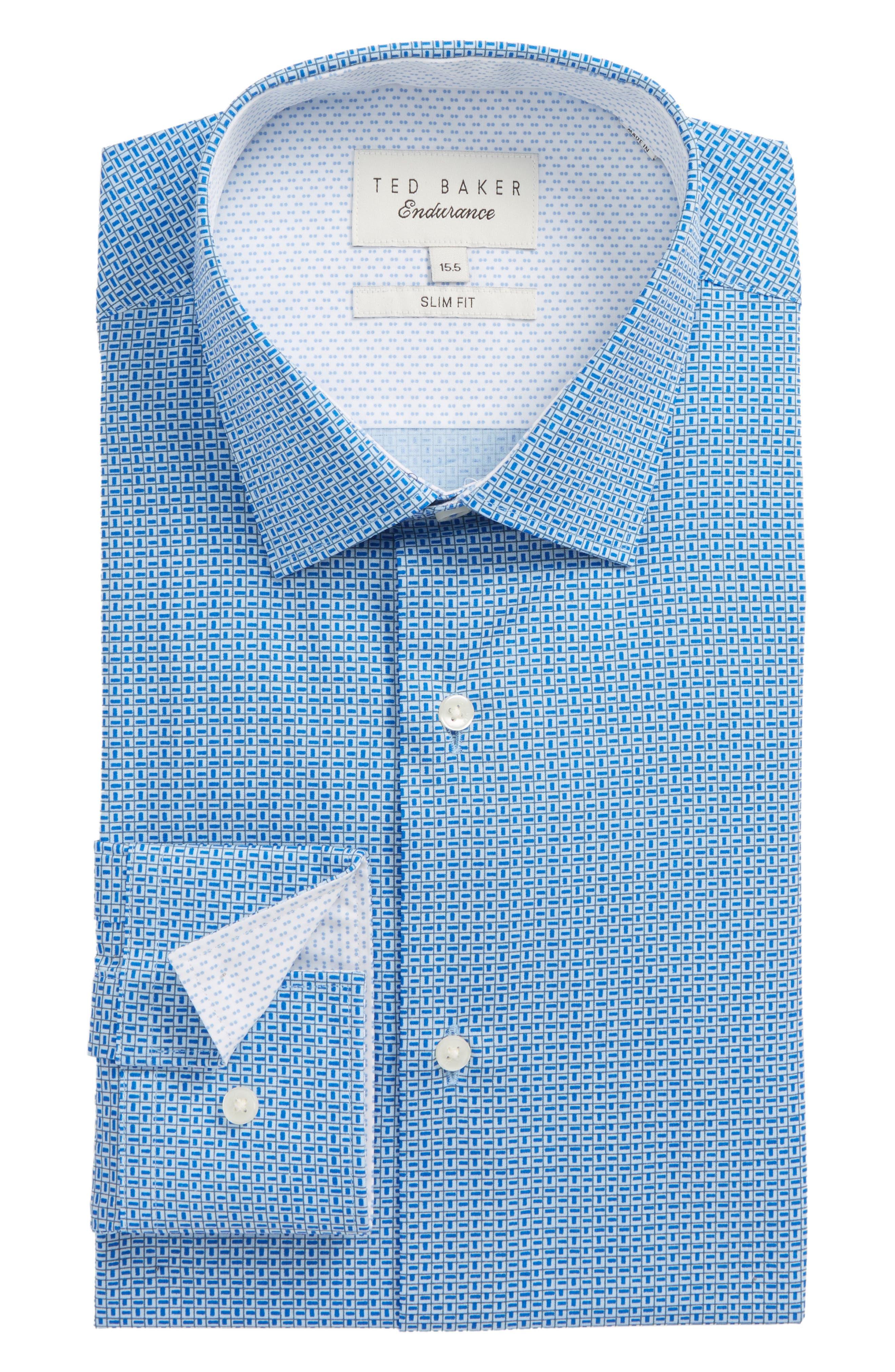 Porsh Slim Fit Check Dress Shirt,                         Main,                         color, Blue