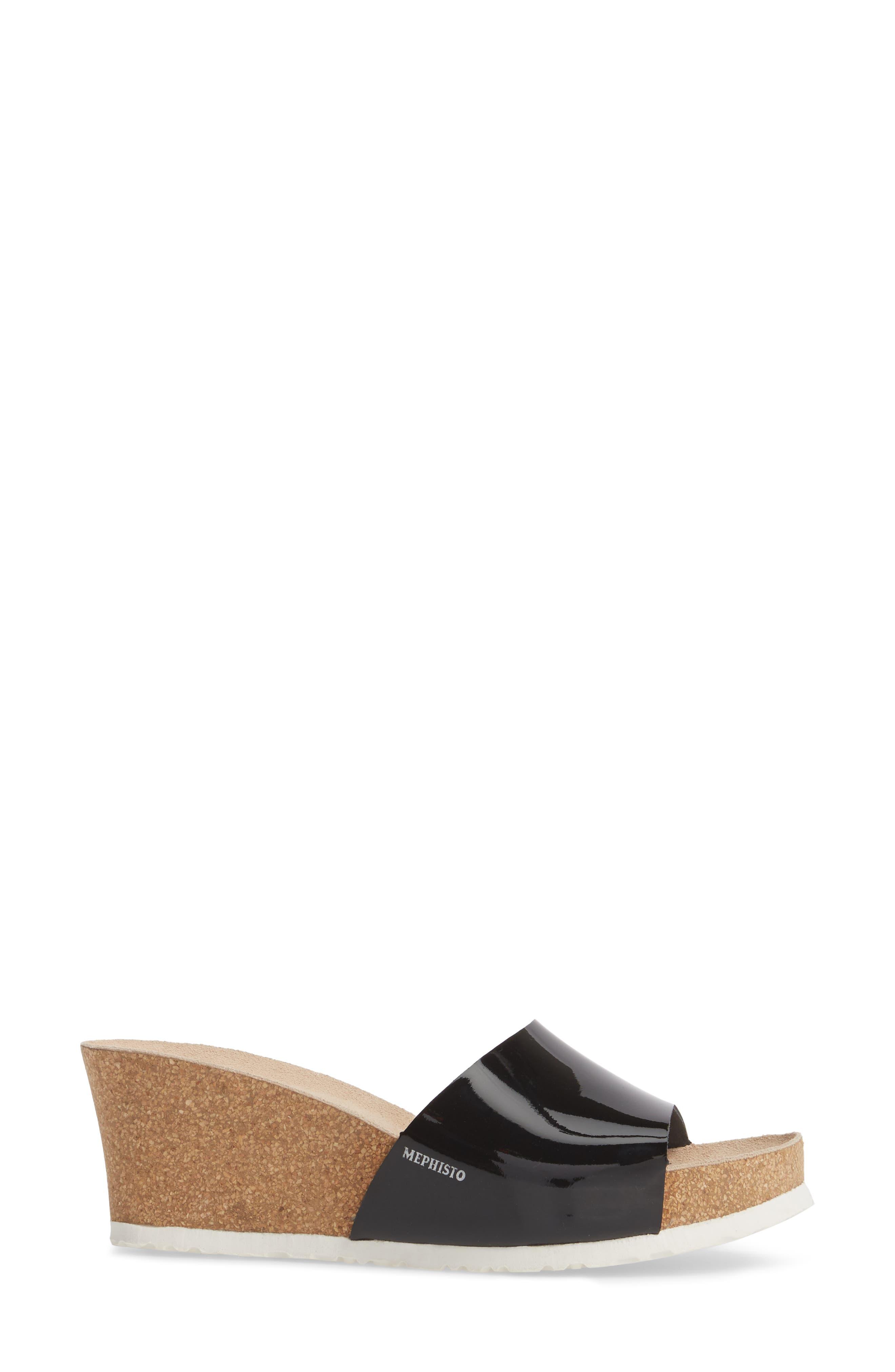 Lise Platform Wedge Sandal,                             Alternate thumbnail 3, color,                             Black