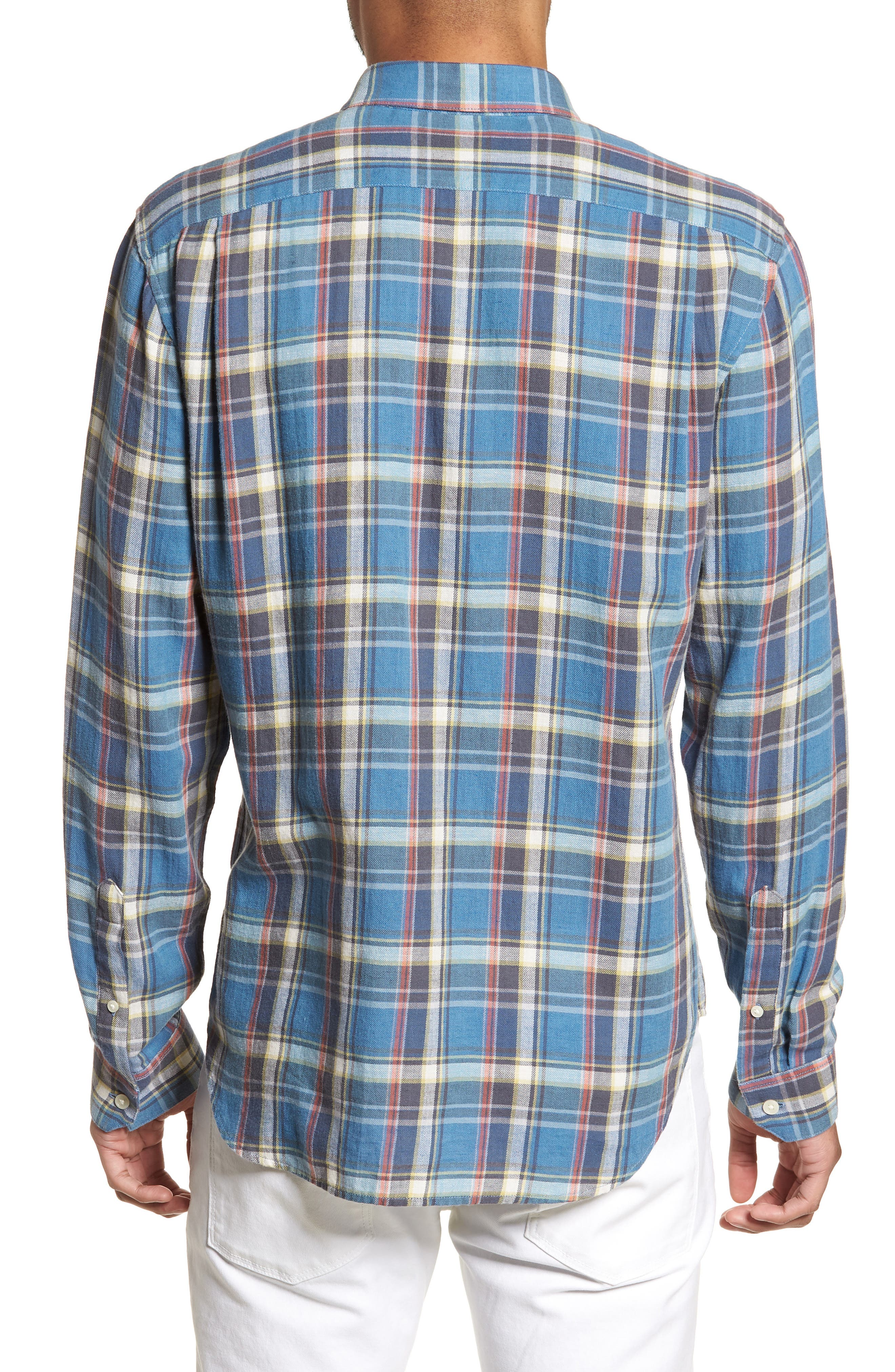Slim Fit Plaid Sport Shirt,                             Alternate thumbnail 2, color,                             Light Blue