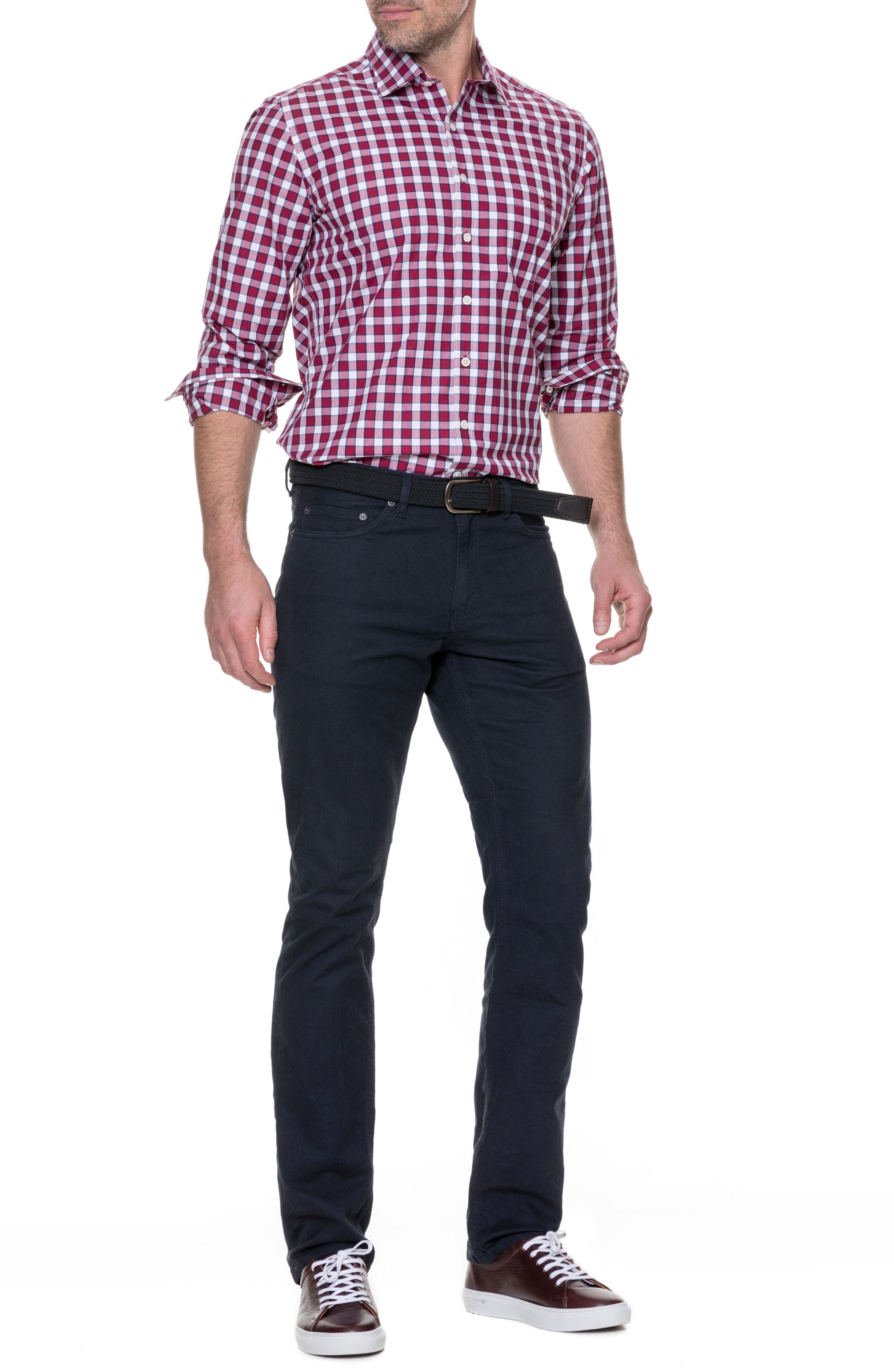 Cedarwood Regular Fit Sport Shirt,                             Alternate thumbnail 5, color,                             Sangria