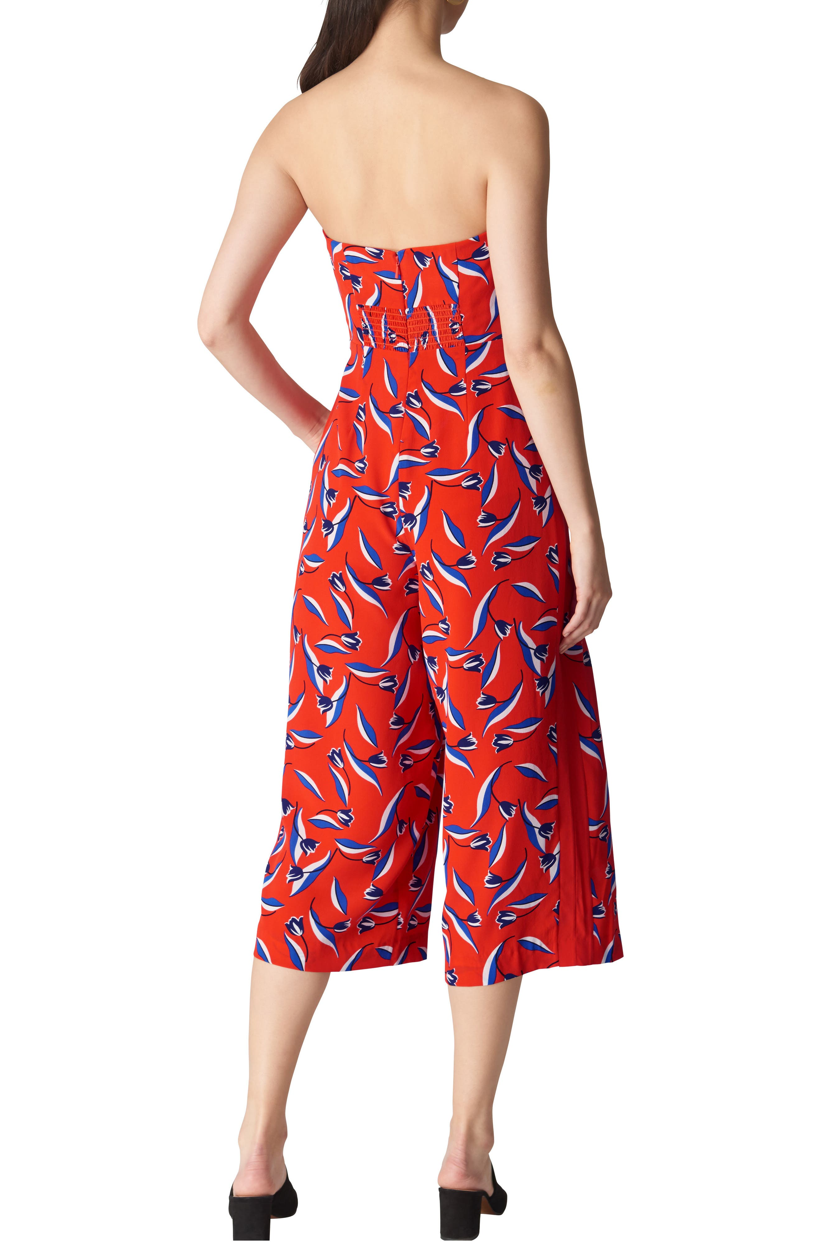 Lyza Tulip Print Strapless Silk Jumpsuit,                             Alternate thumbnail 2, color,                             Red/ Multi