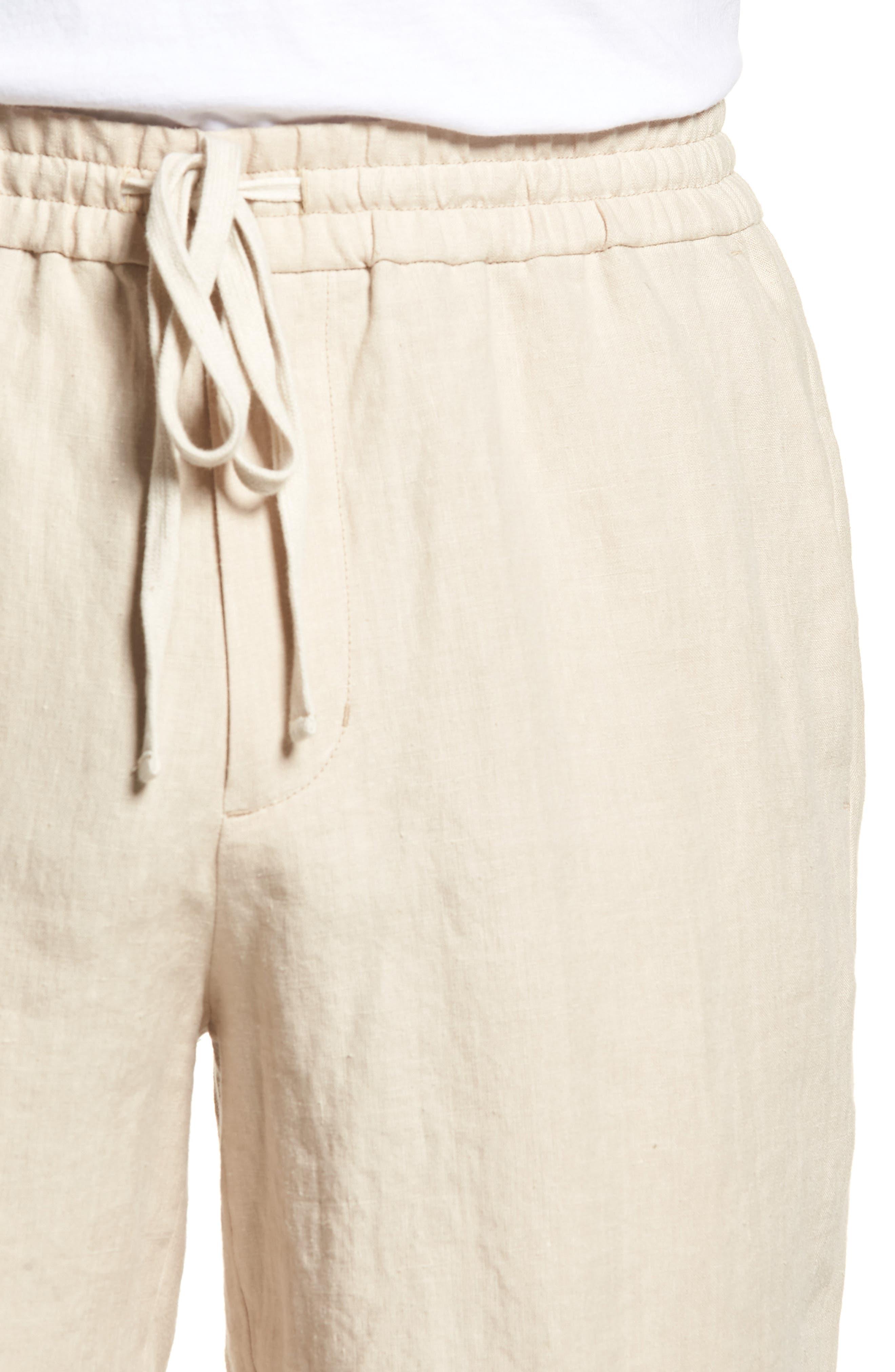 Raw Hem Slim Fit Track Shorts,                             Alternate thumbnail 4, color,                             White Sand