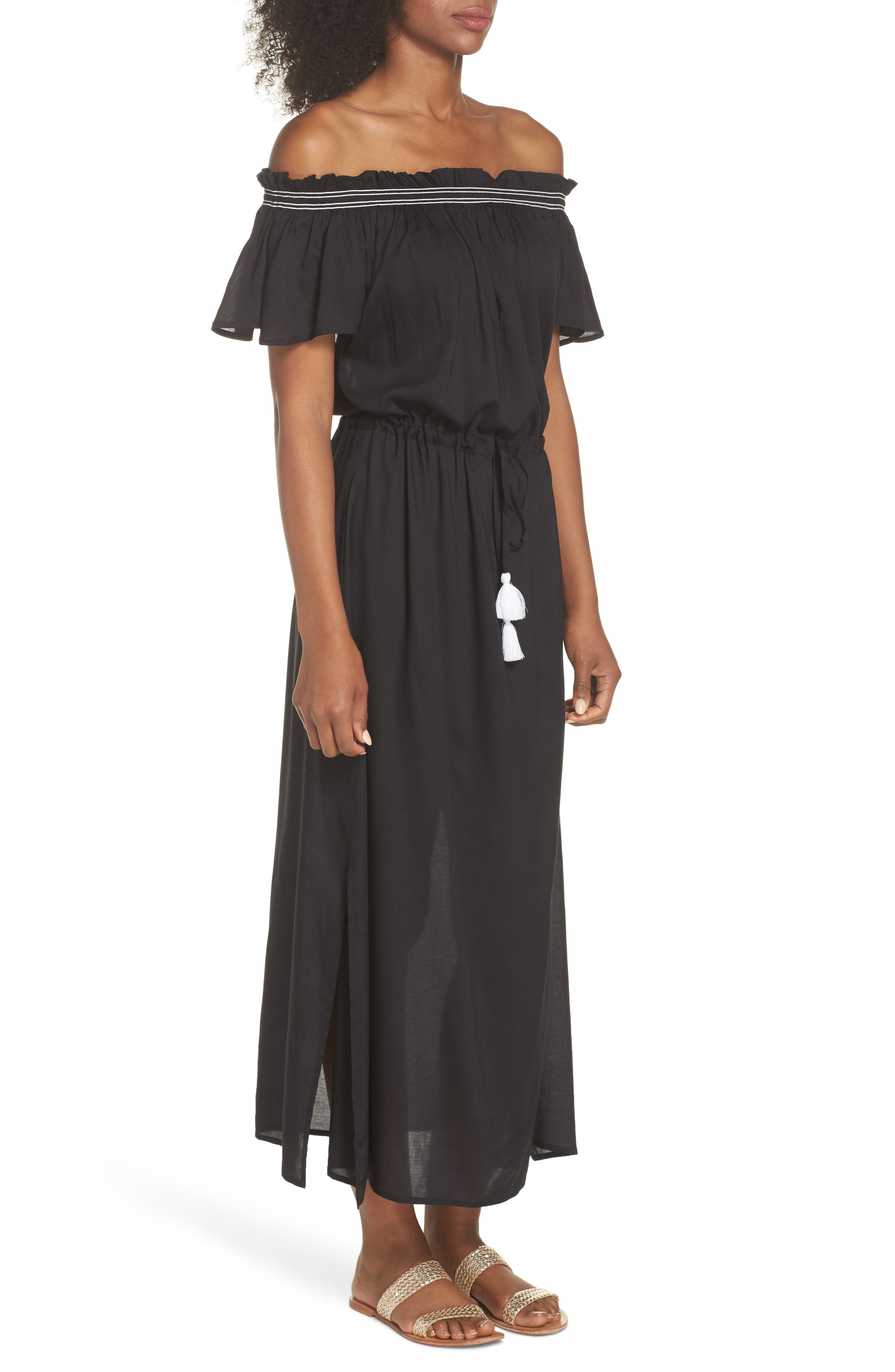 Off the Shoulder Cover-Up Dress,                             Alternate thumbnail 3, color,                             Black