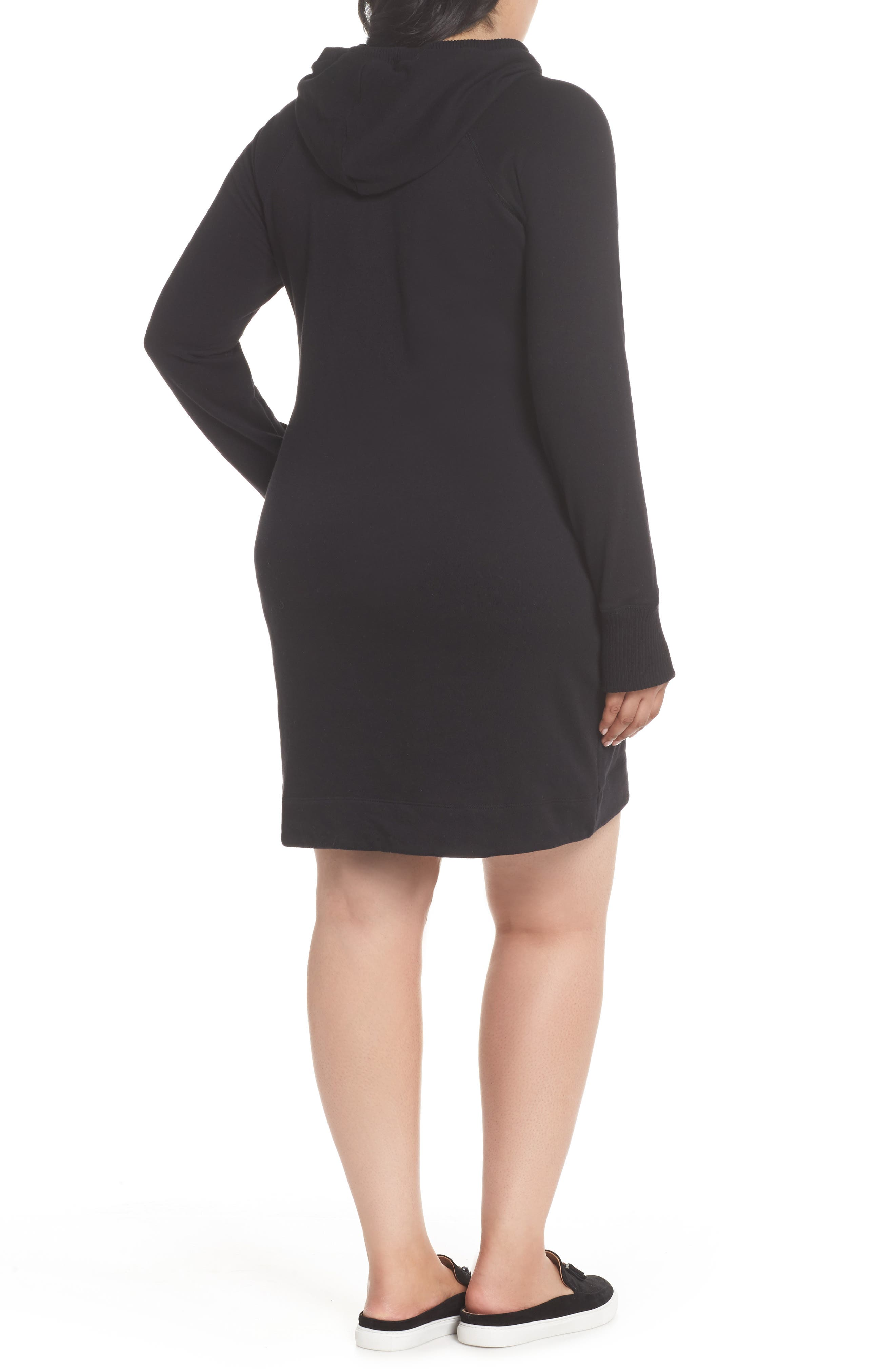 Off-Duty Hooded Sweatshirt Dress,                             Alternate thumbnail 2, color,                             Black