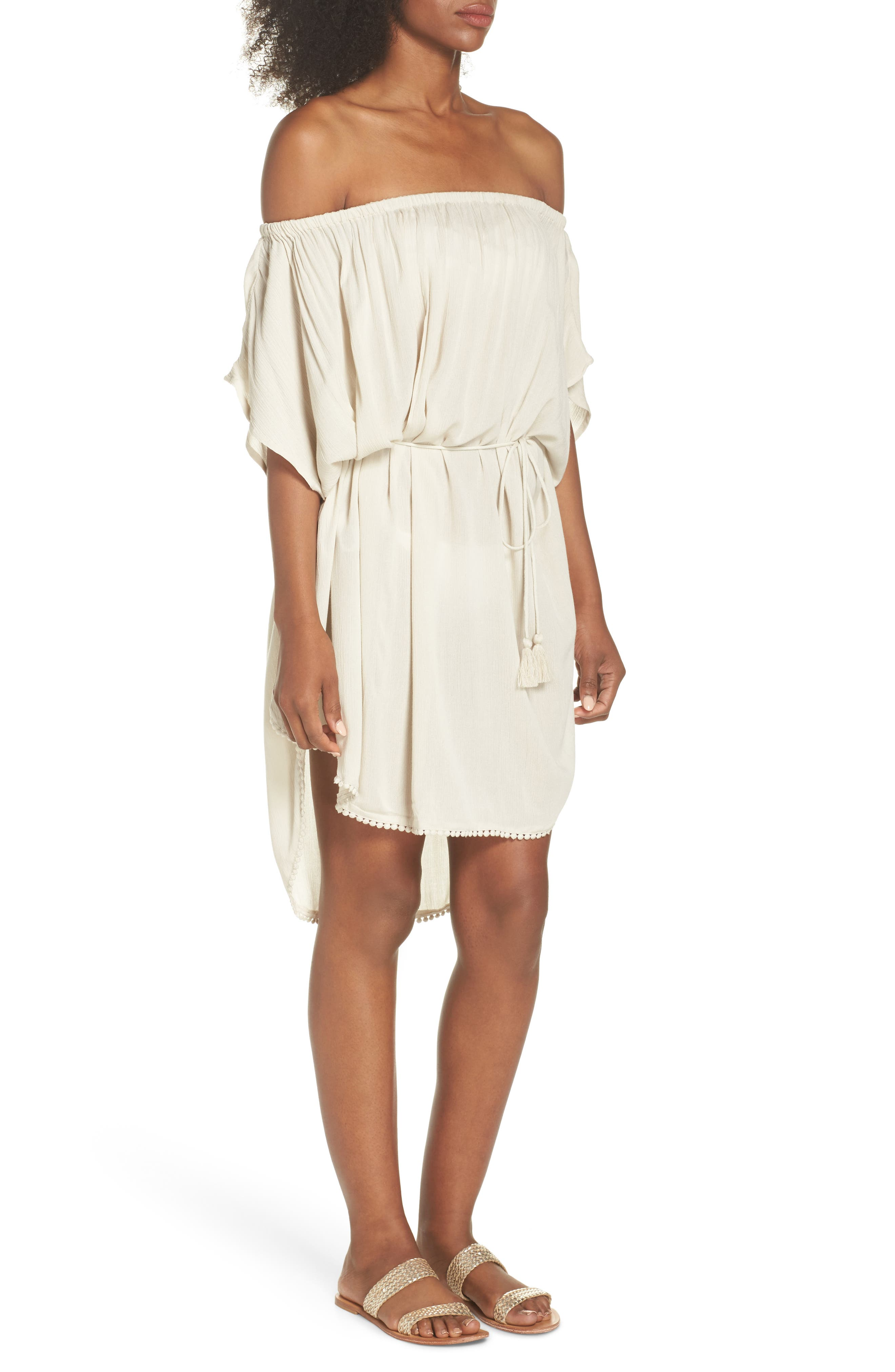 Seaside Cover-Up Dress,                             Alternate thumbnail 3, color,                             Stone