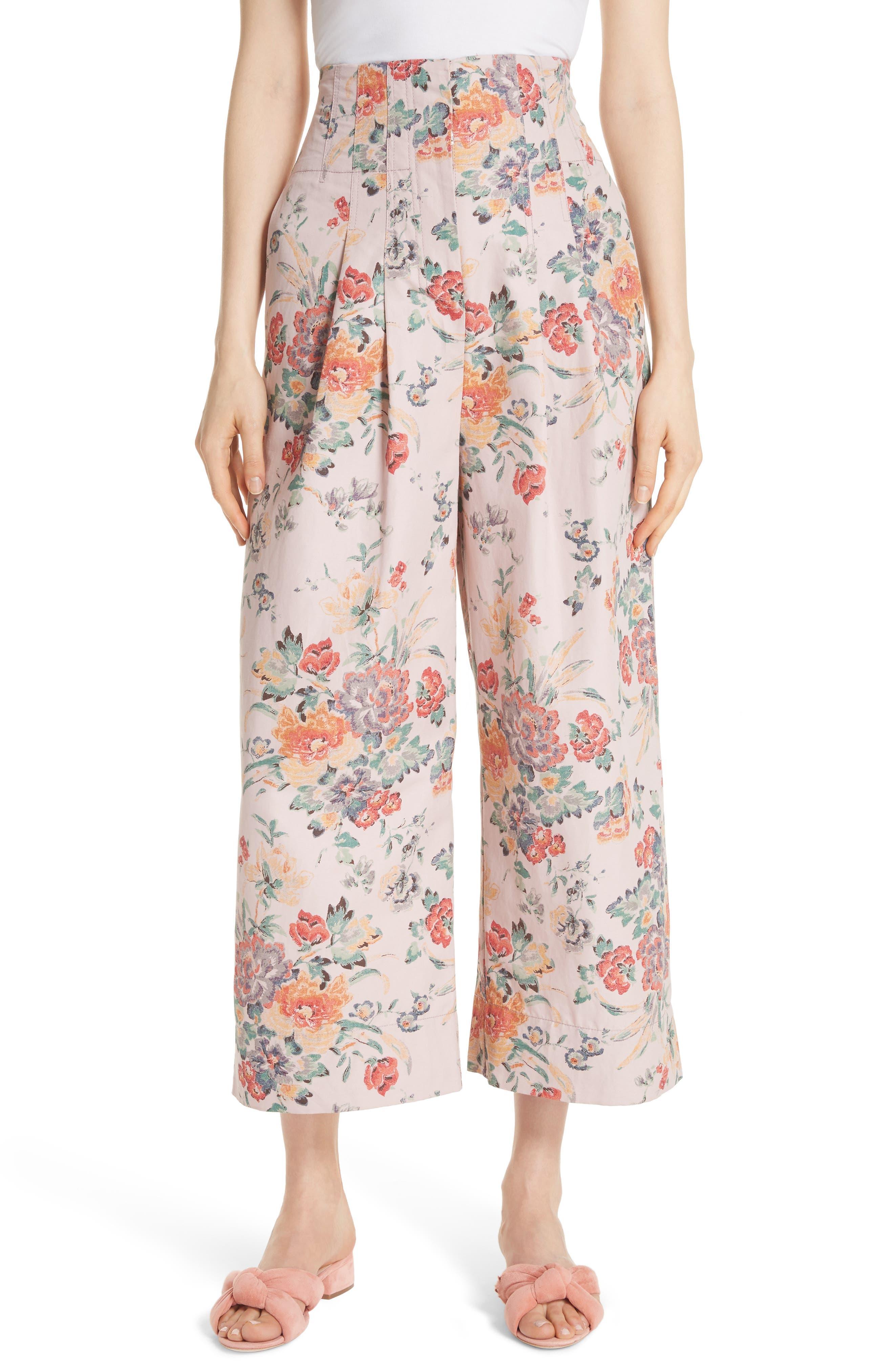Marlena Floral Crop Pants,                             Main thumbnail 1, color,                             Dusty Rose Combo