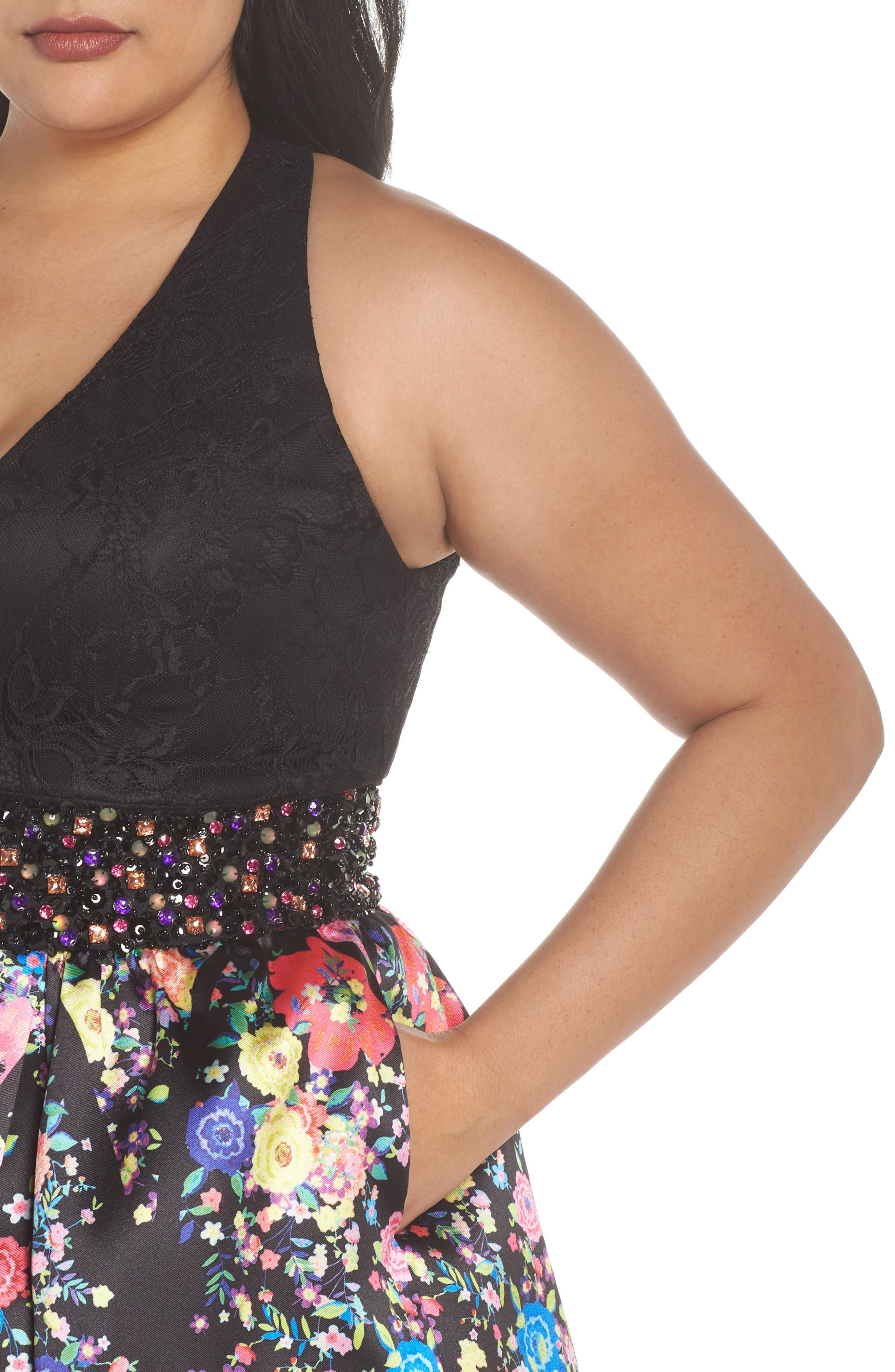 Alternate Image 4  - Mac Duggal Lace & Floral Halter Fit & Flare Dress (Plus Size)