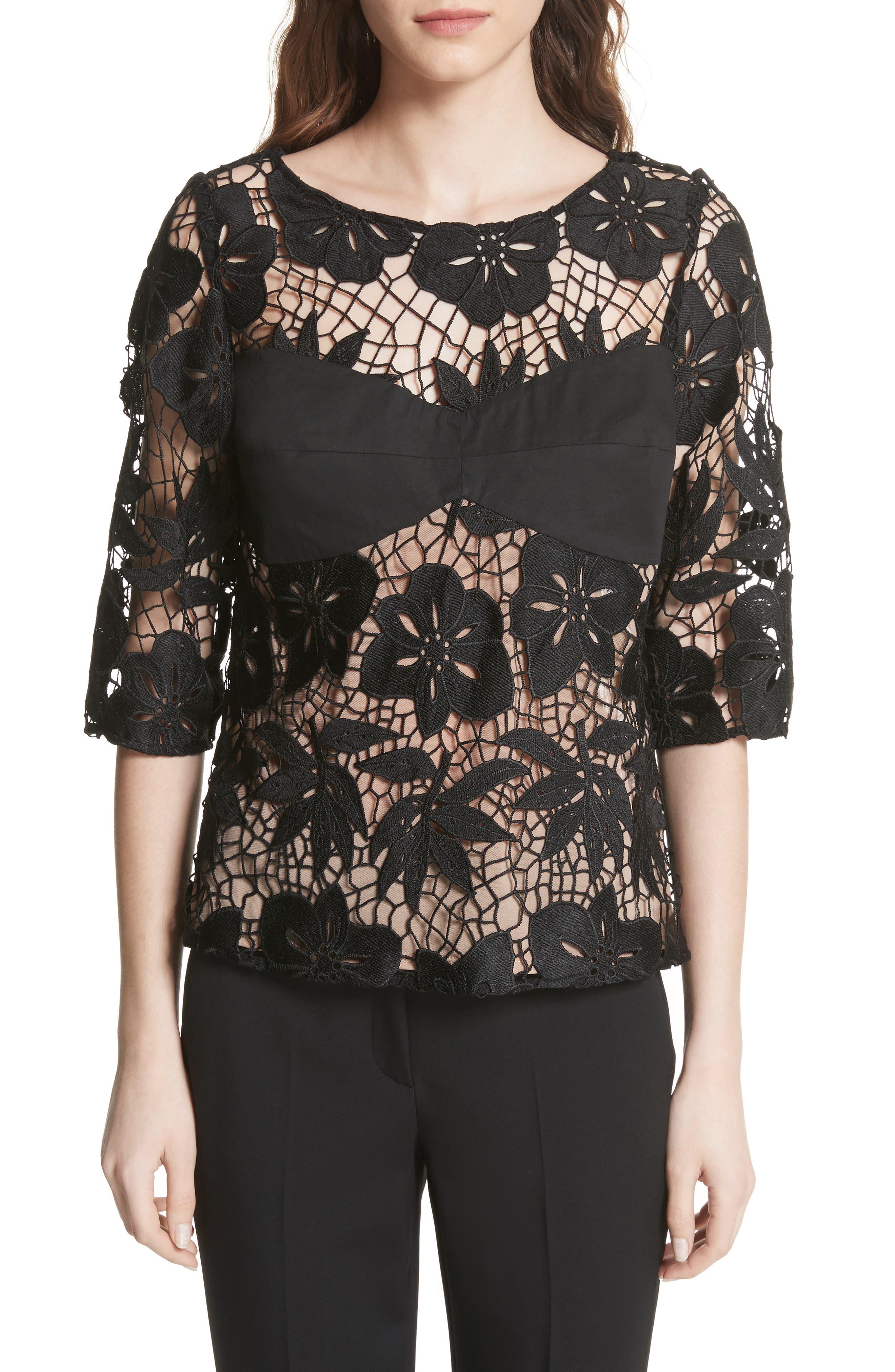 Mixed Media Lace Top,                         Main,                         color, Black