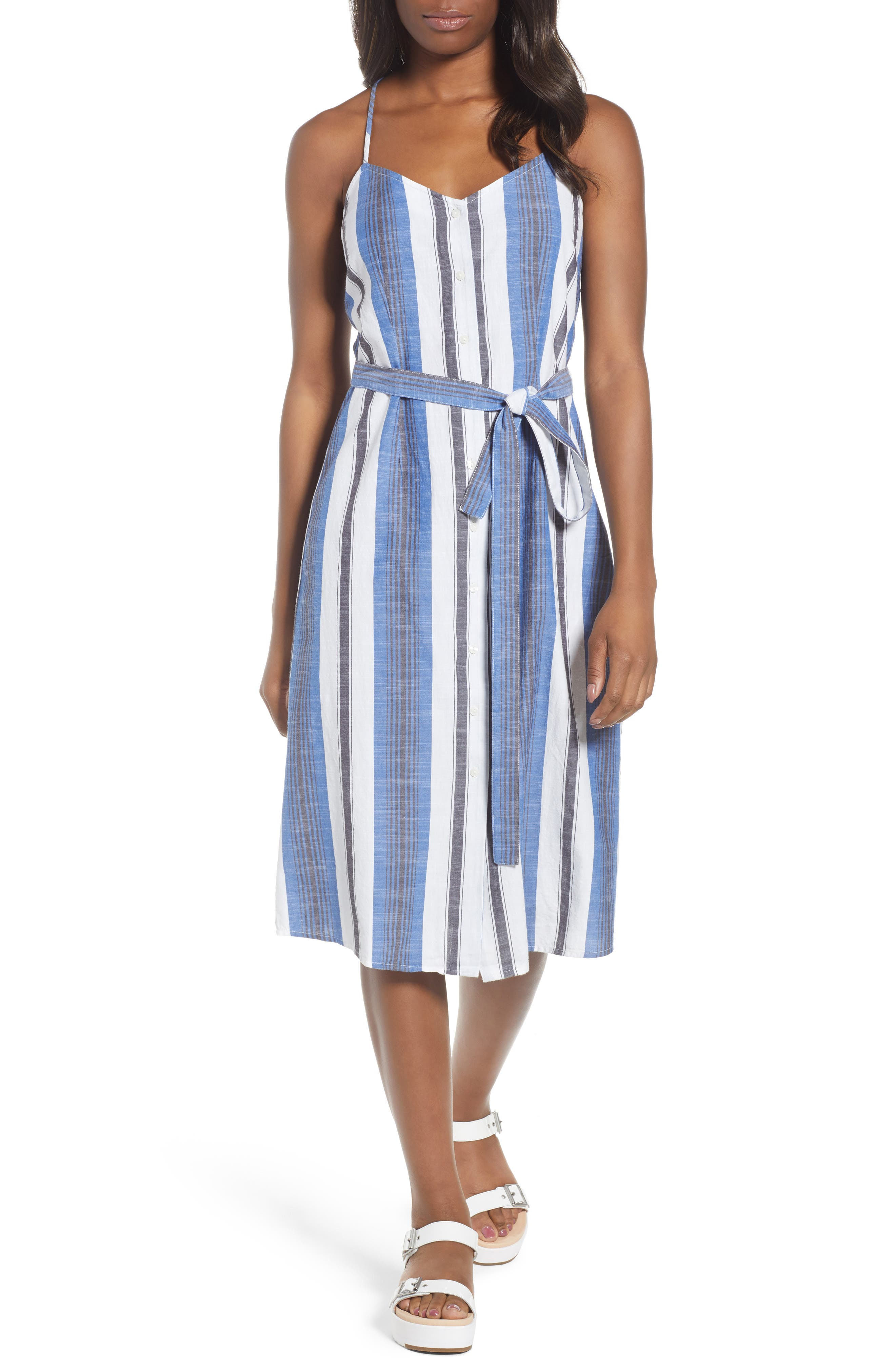 Stripe Cotton Sundress,                             Main thumbnail 1, color,                             Blue Multi