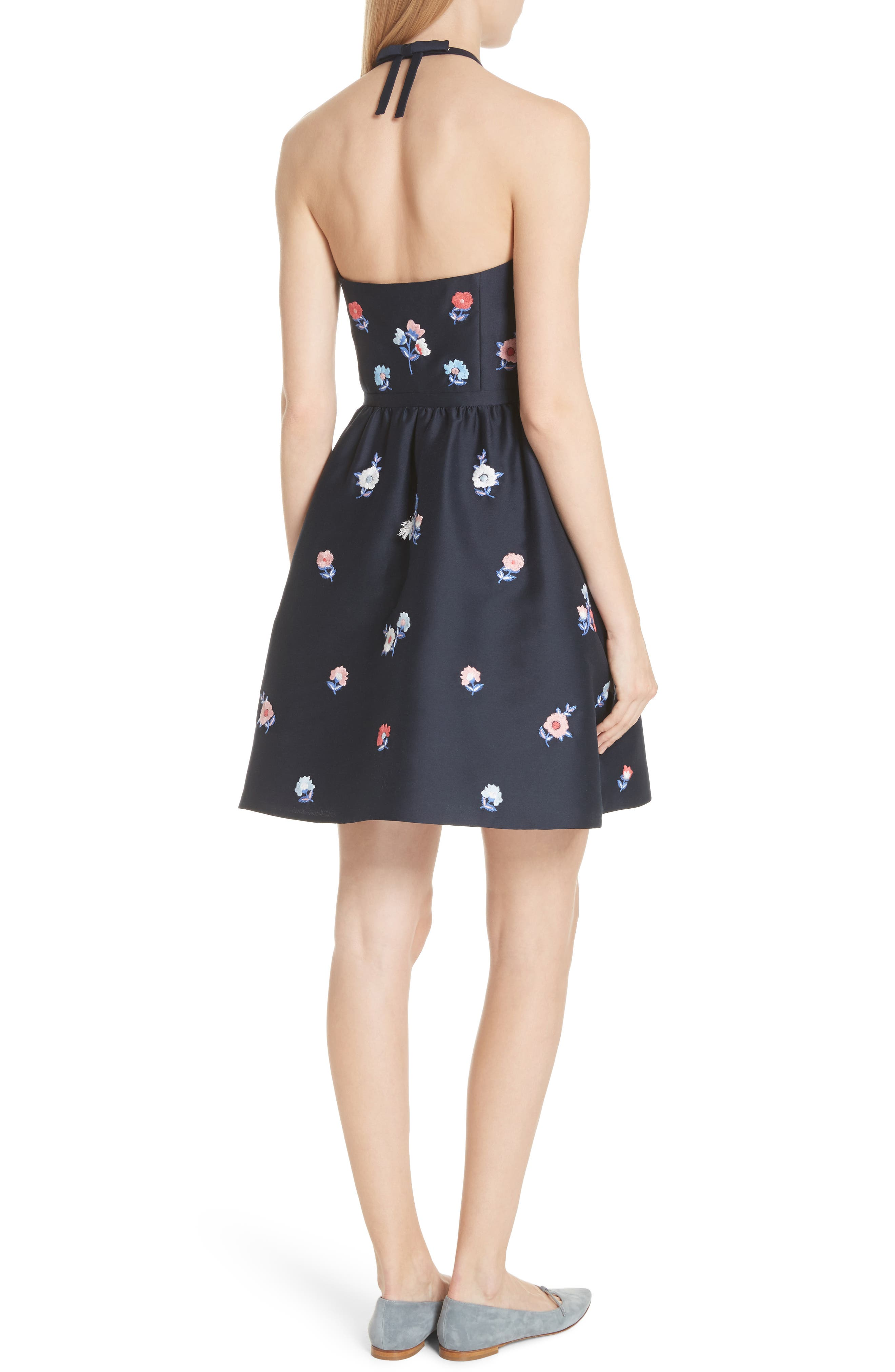 pom pom embrroidered fit & flare dress,                             Alternate thumbnail 2, color,                             Rich Navy