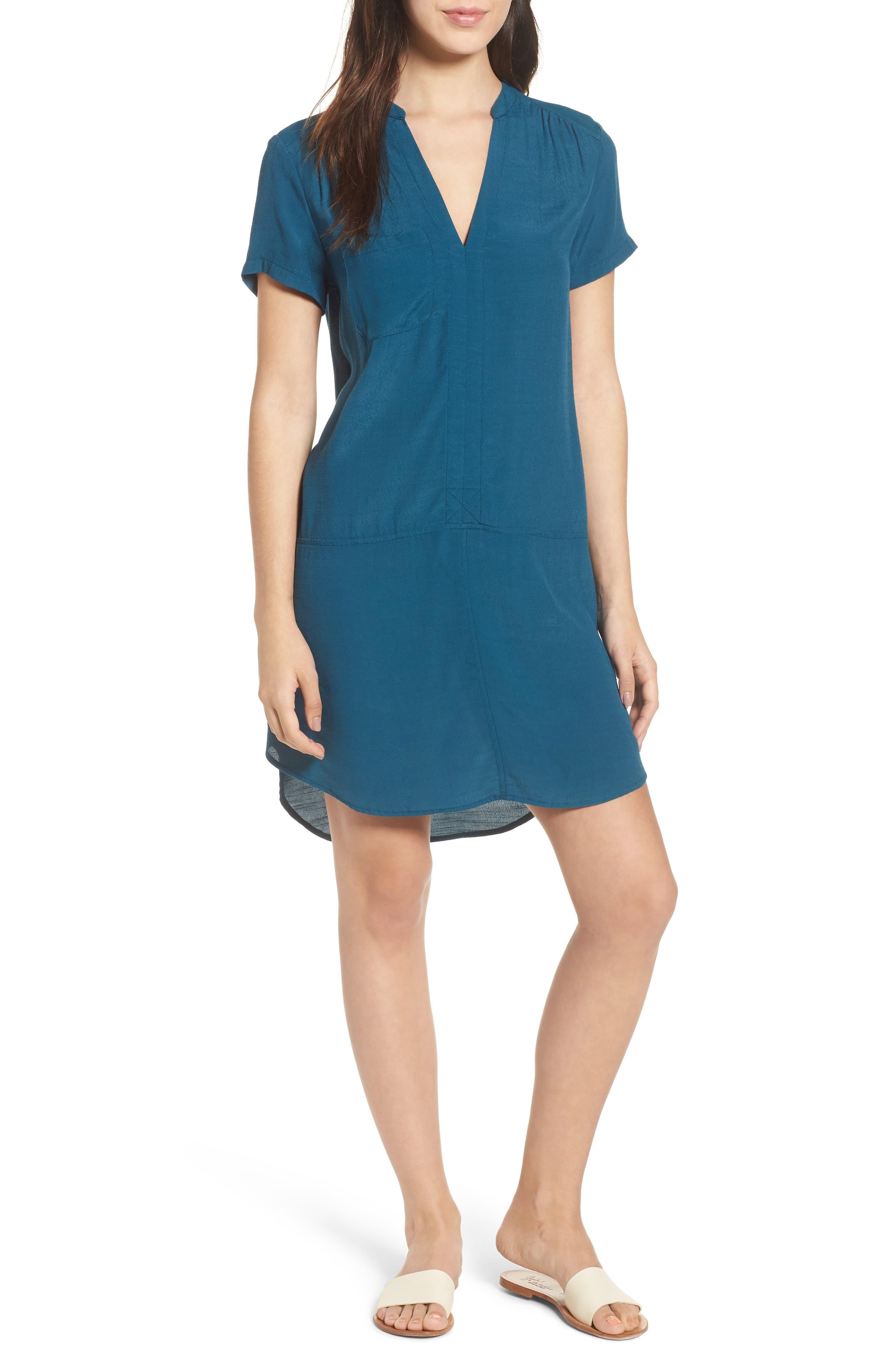 Split Neck Shift Dress,                         Main,                         color, Legion Blue
