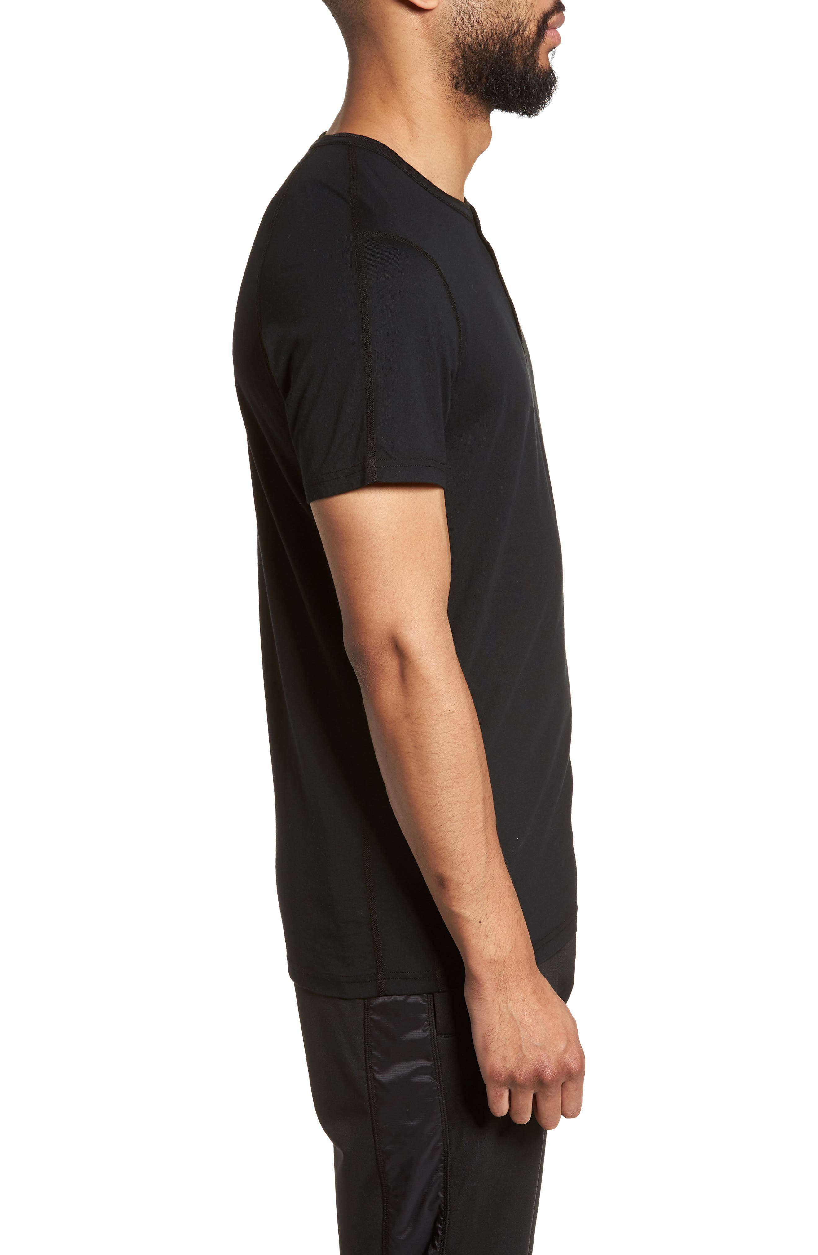 Jersey Henley,                             Alternate thumbnail 3, color,                             Black