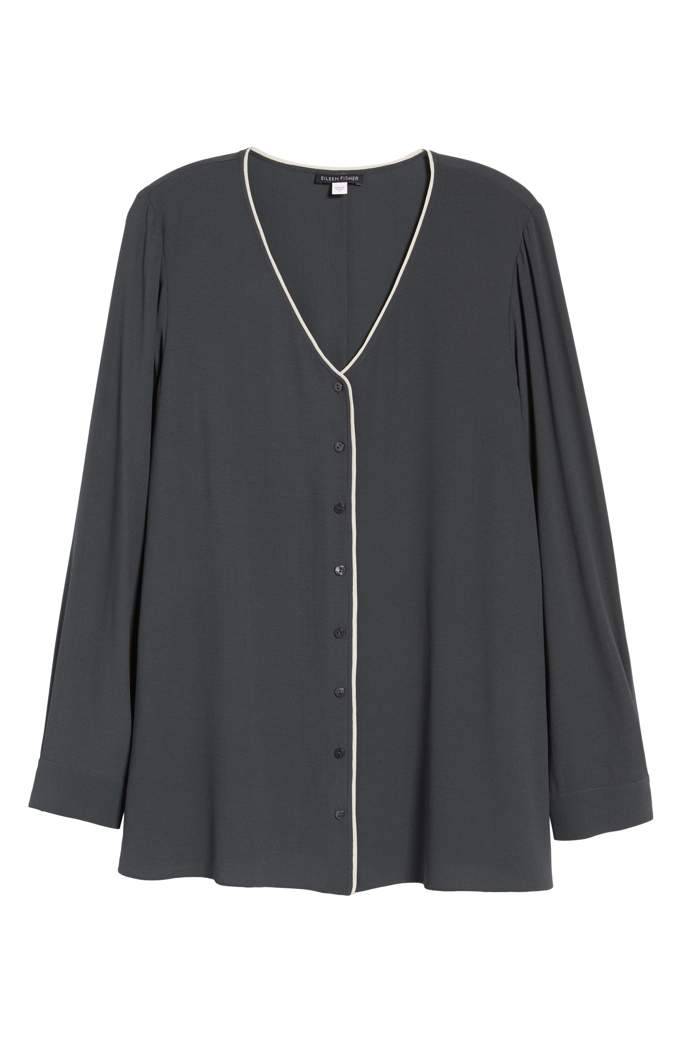 Piped Silk Blouse,                             Alternate thumbnail 7, color,                             Graphite