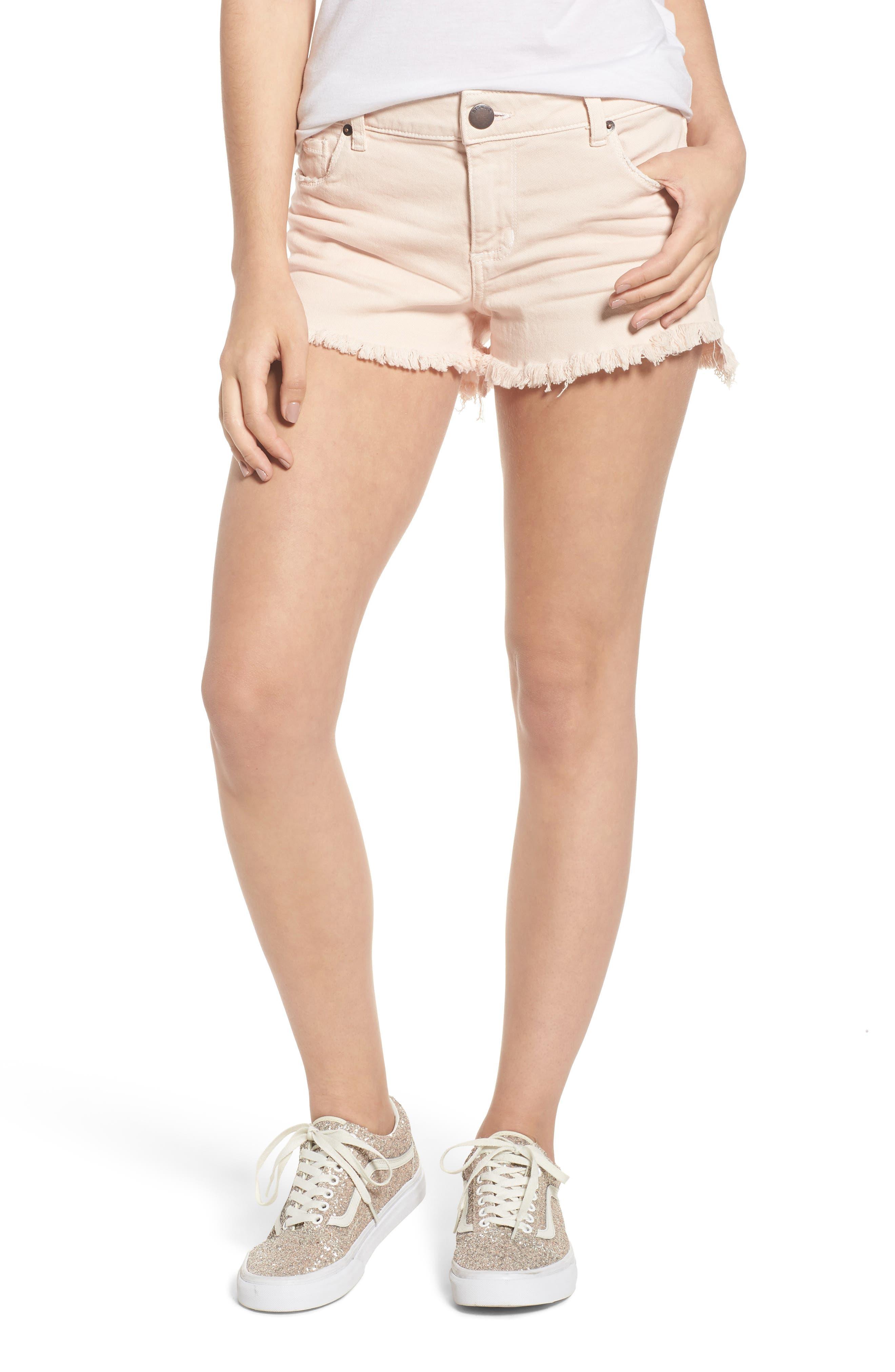 Step Hem Denim Shorts,                         Main,                         color, Salmon
