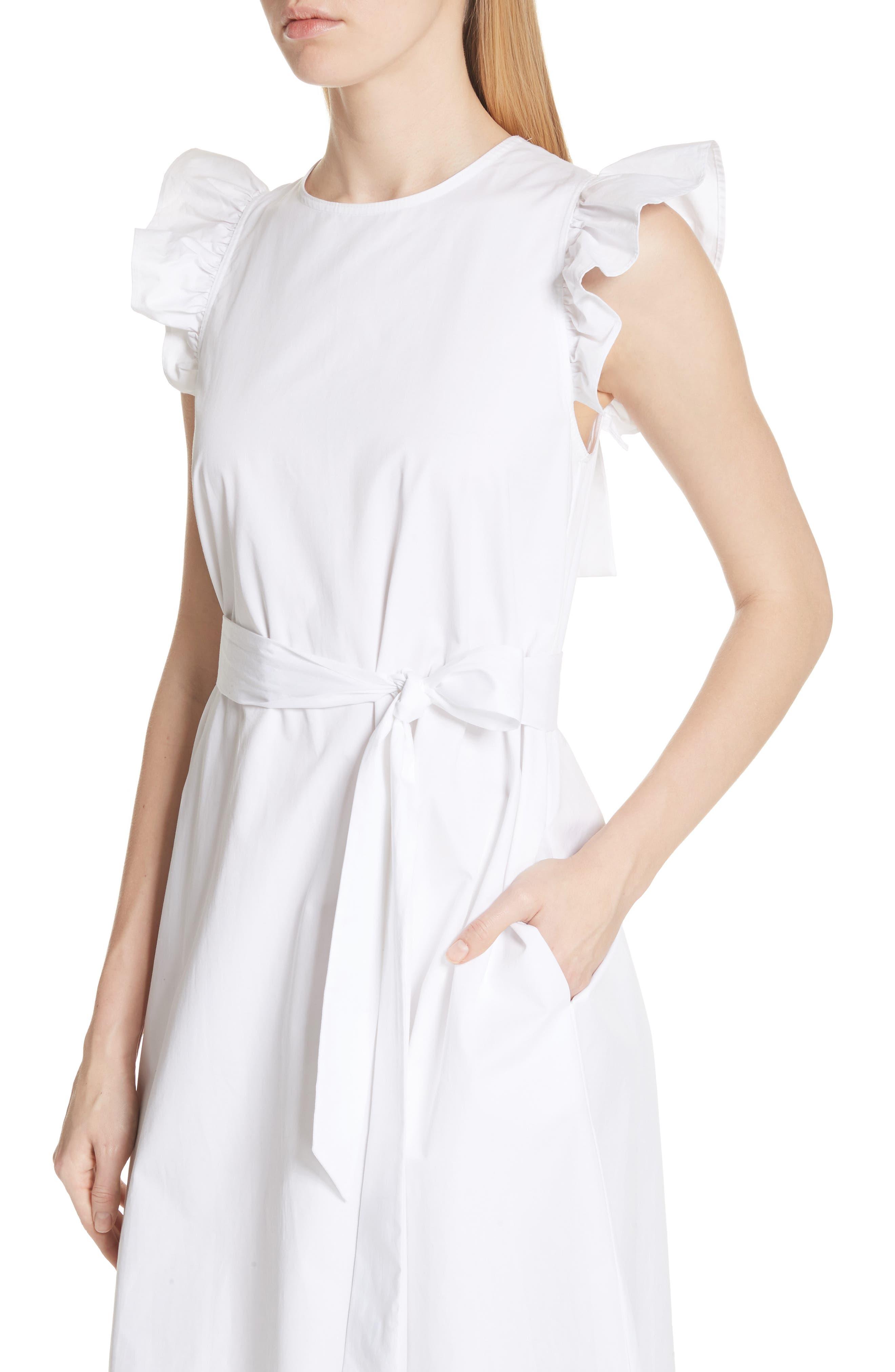 ruffle cotton poplin dress,                             Alternate thumbnail 4, color,                             Fresh White