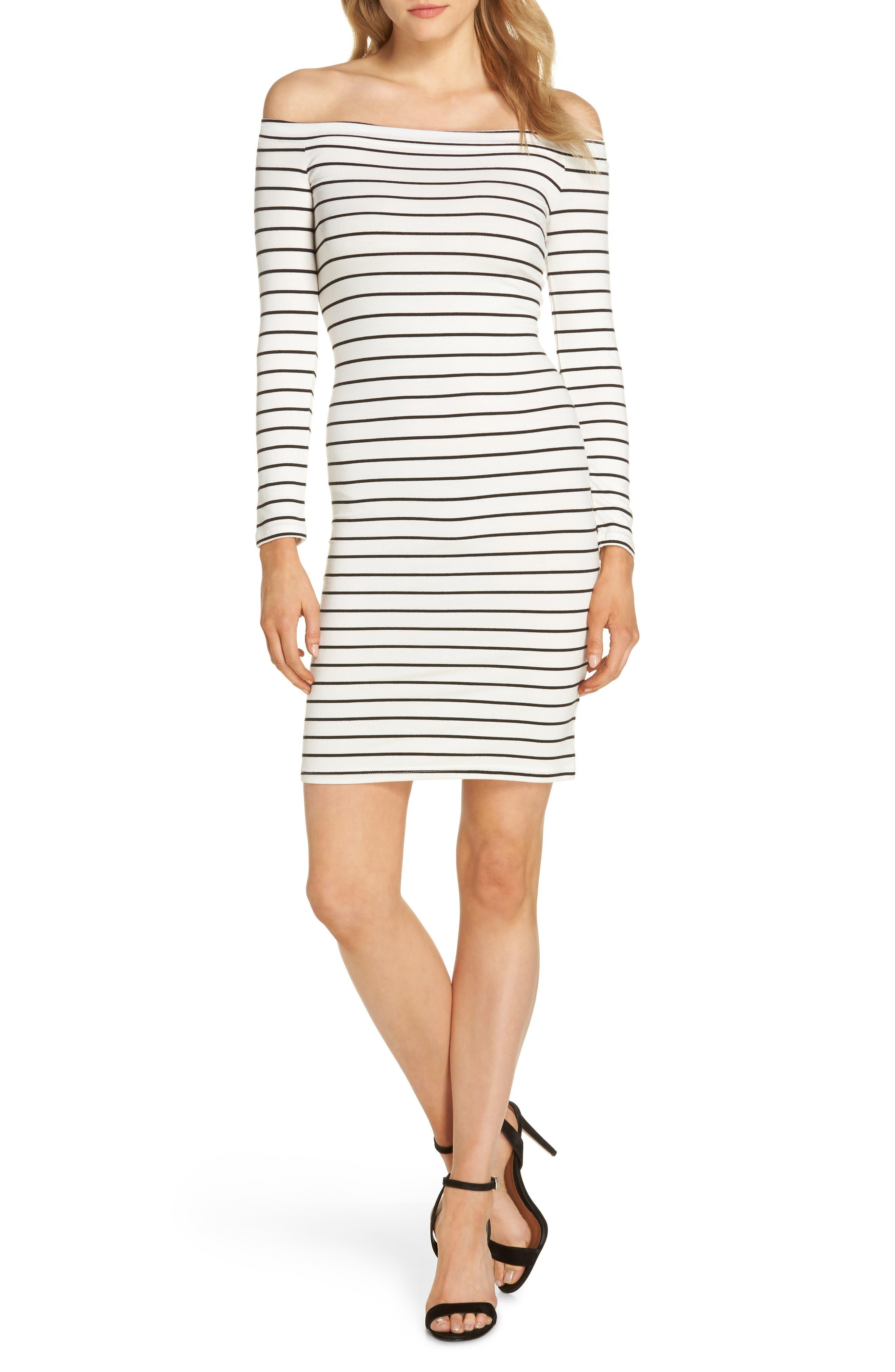 Bridget Off the Shoulder Body-Con Dress,                         Main,                         color, Ivory