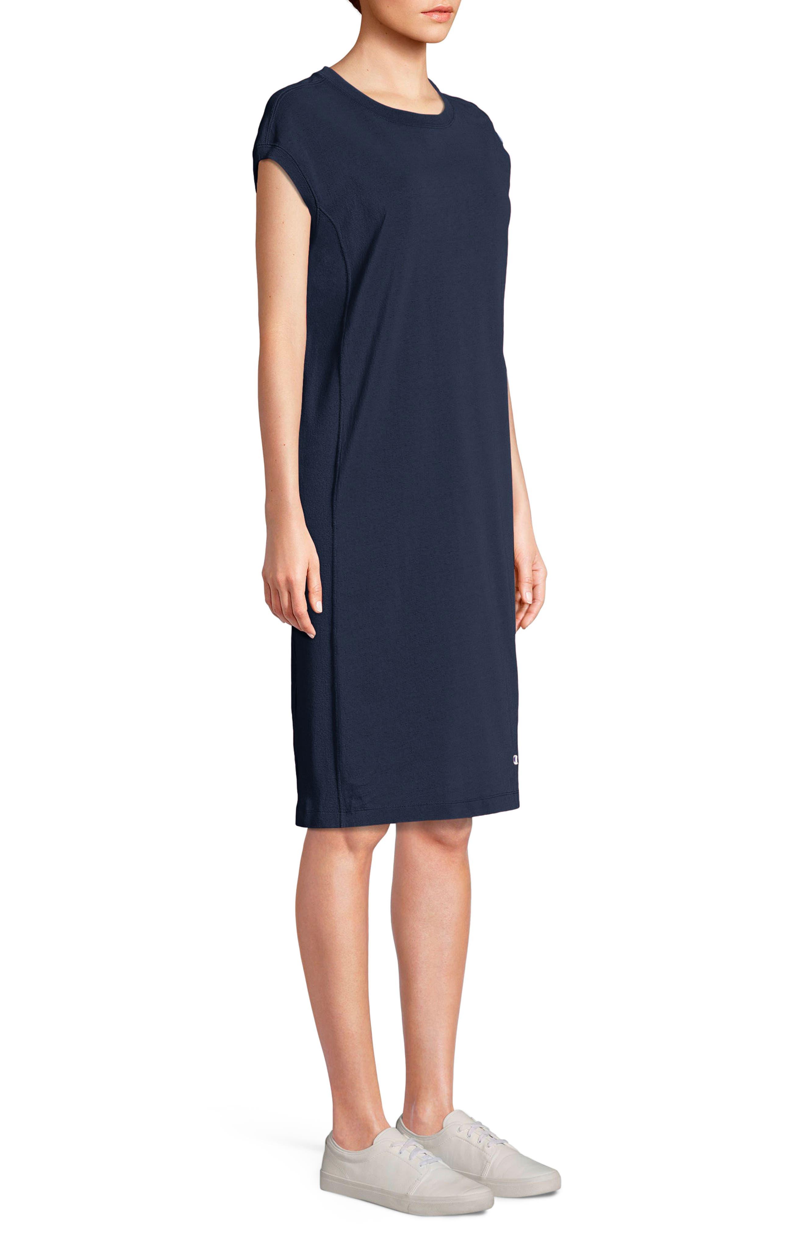 Heavyweight Jersey T-Shirt Dress,                             Main thumbnail 1, color,                             Navy