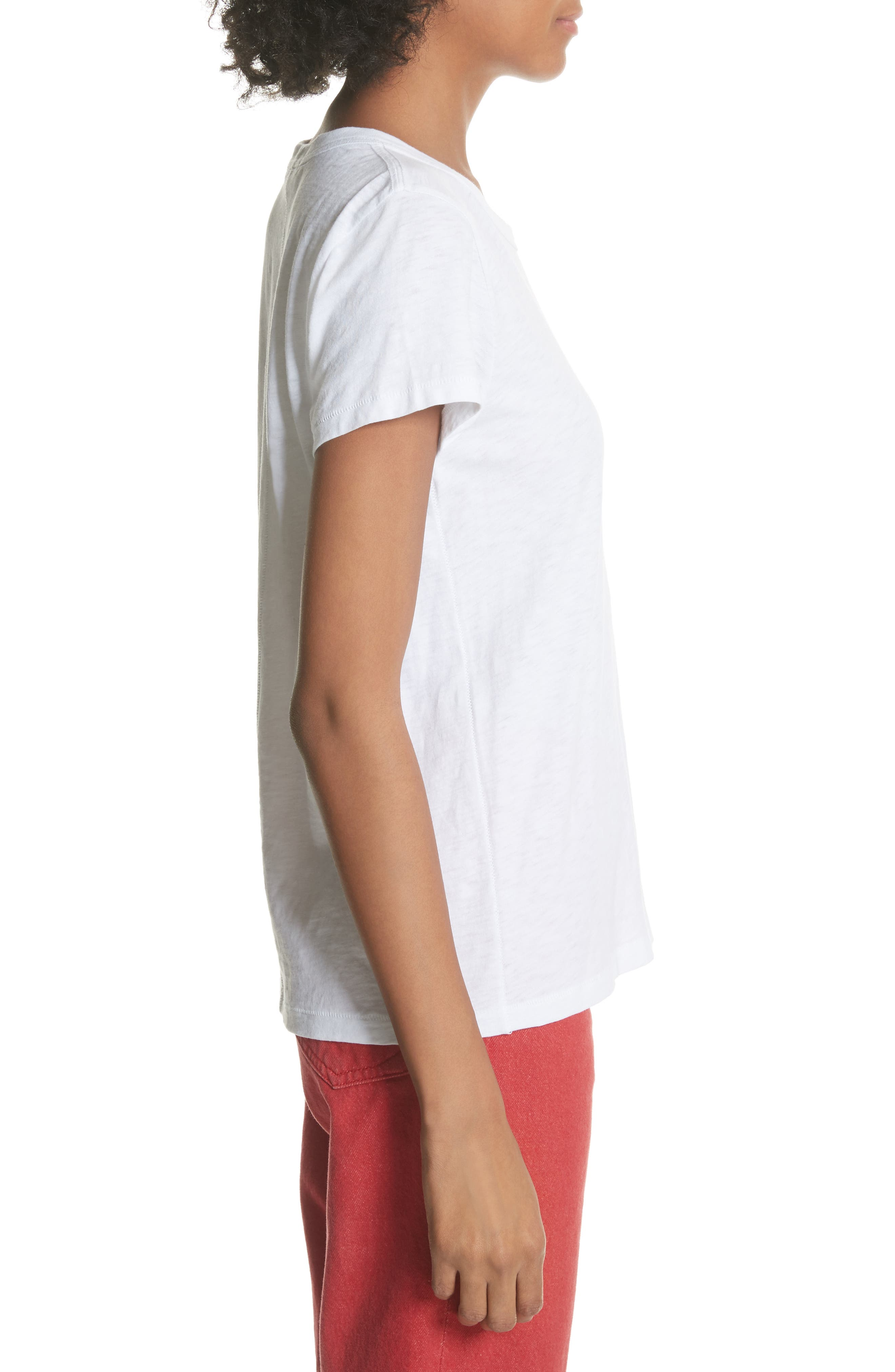 Rose Embroidered Tee,                             Alternate thumbnail 3, color,                             White