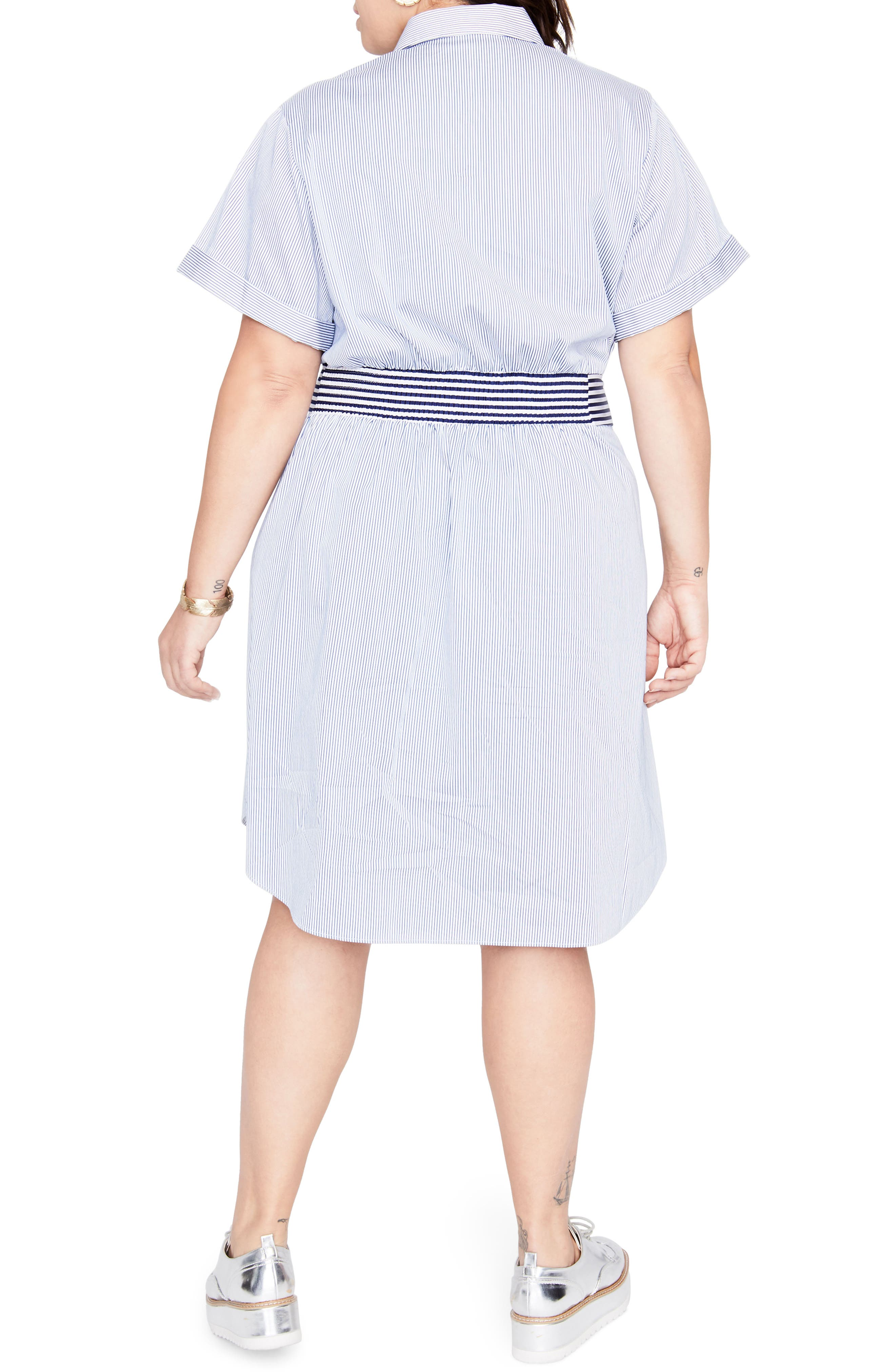 Obi Belt Stripe Shirtdress,                             Alternate thumbnail 2, color,                             Blue White Combo