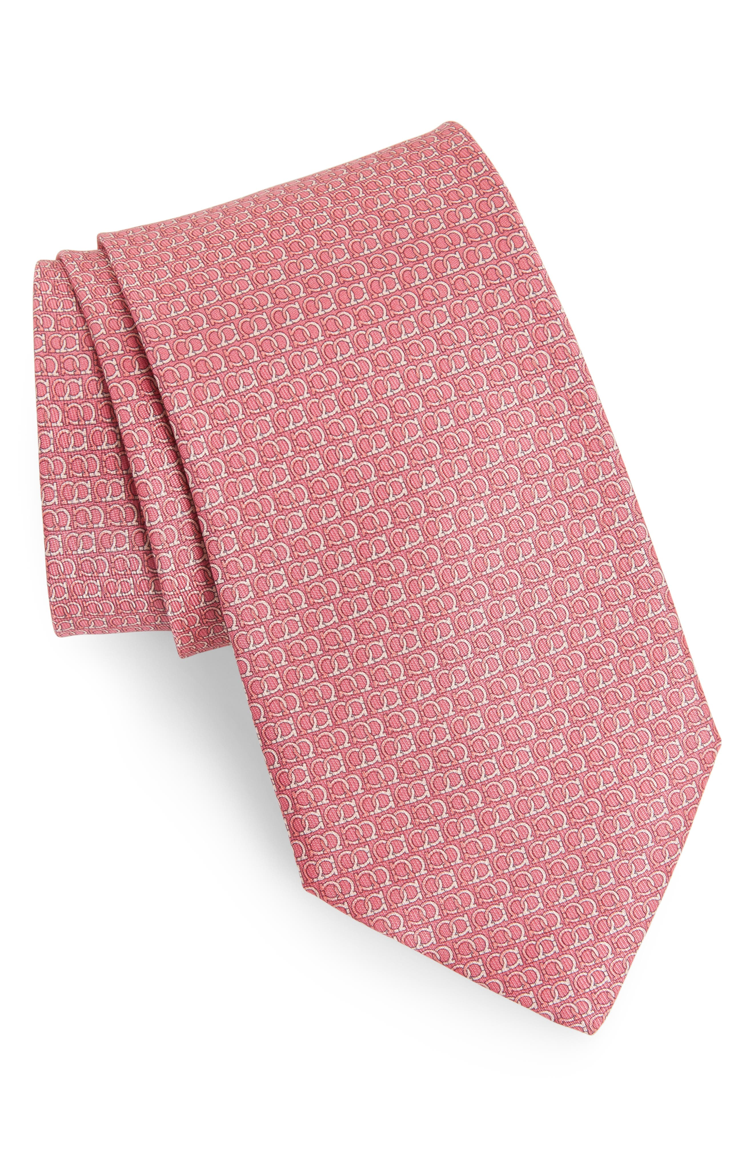 Ego Print Silk Tie,                             Main thumbnail 1, color,                             Pink