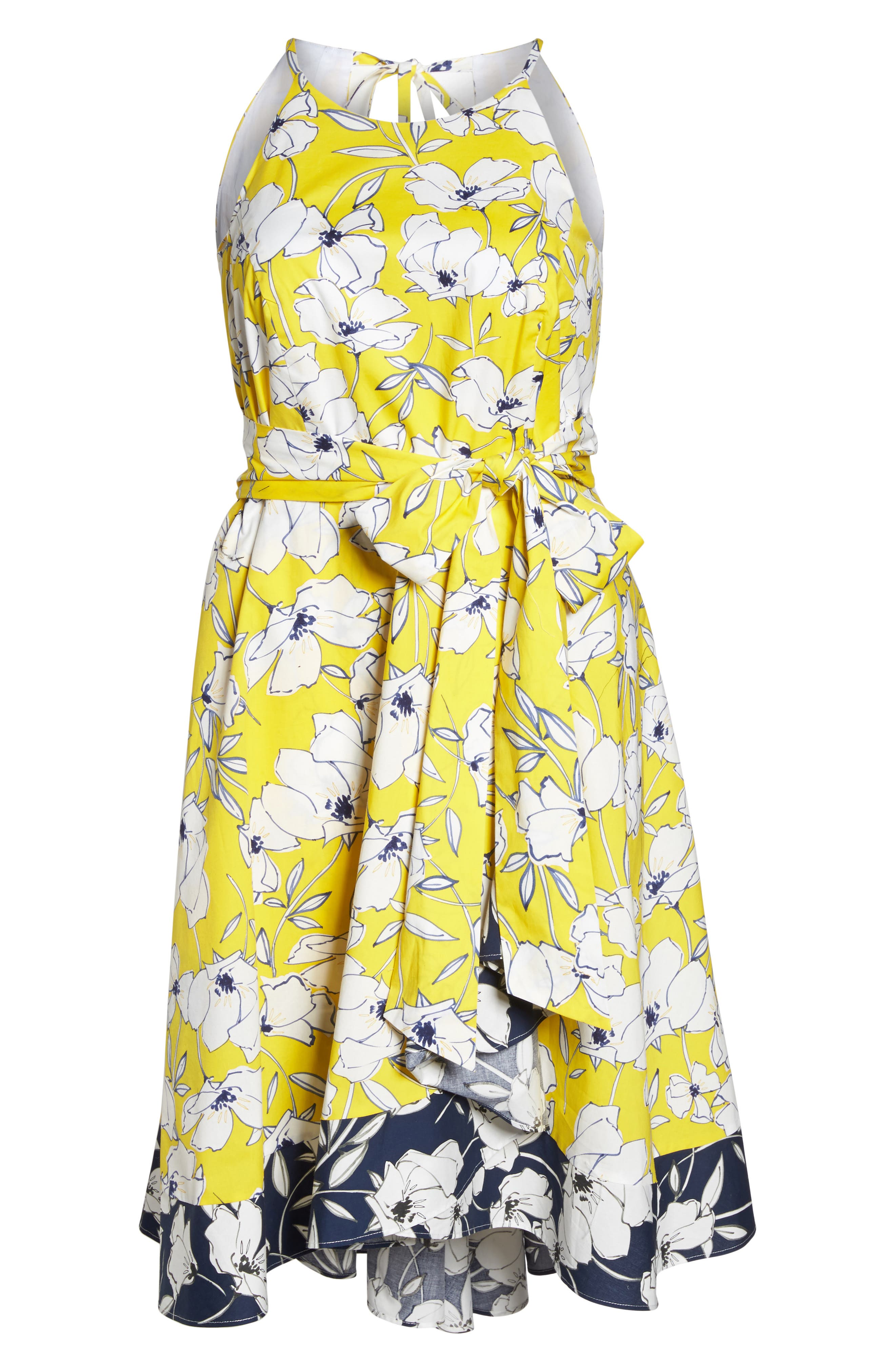 Floral Fit & Flare Dress,                             Alternate thumbnail 7, color,                             Yellow/ Navy/ White