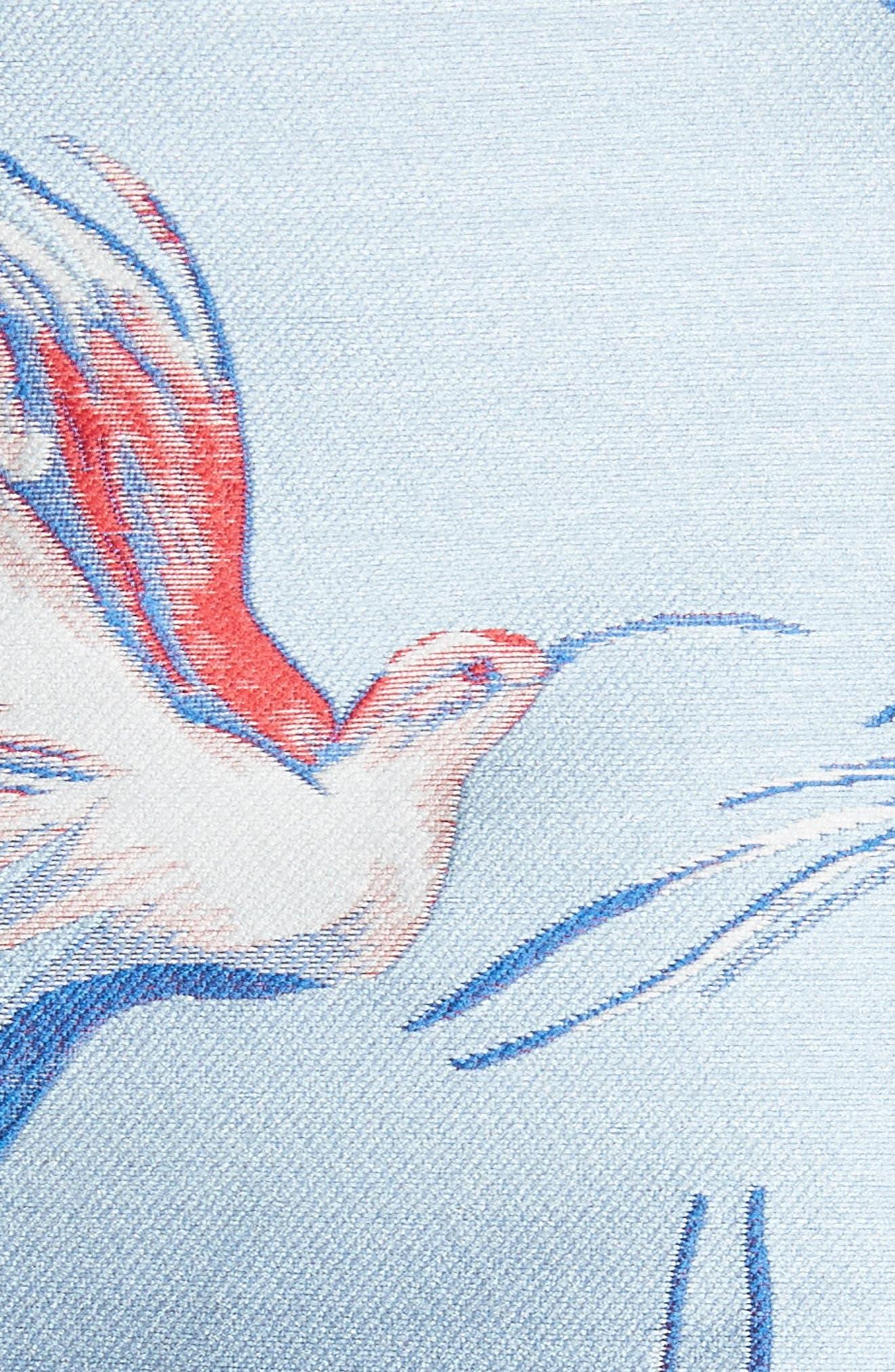 Heath Bird Print Shorts,                             Alternate thumbnail 5, color,                             Dusty Aqua/ Multi
